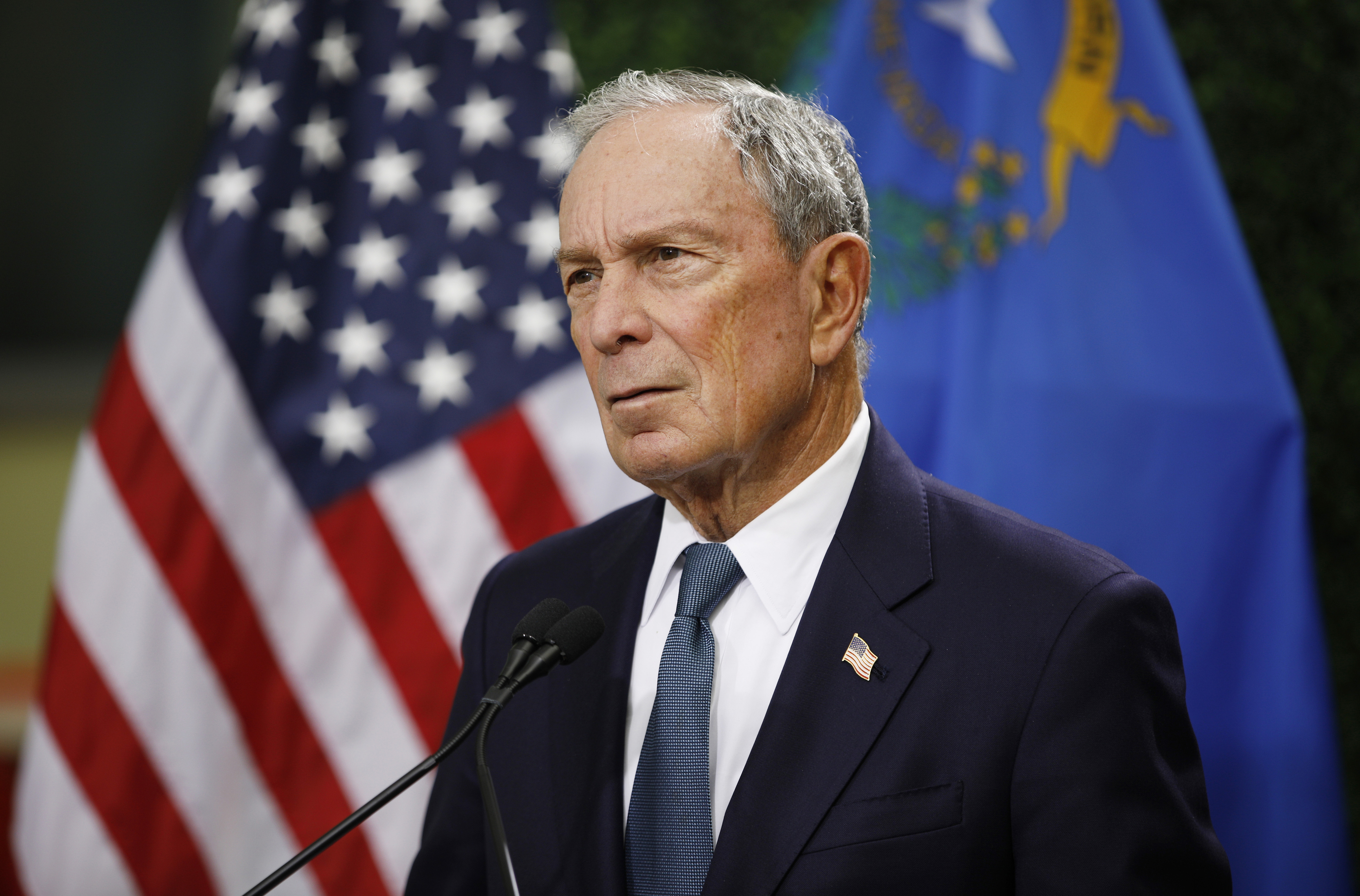 Former New York City Mayor Michael Bloomberg speaks at a news conference in Las Vegas on Feb. 26, 2019.