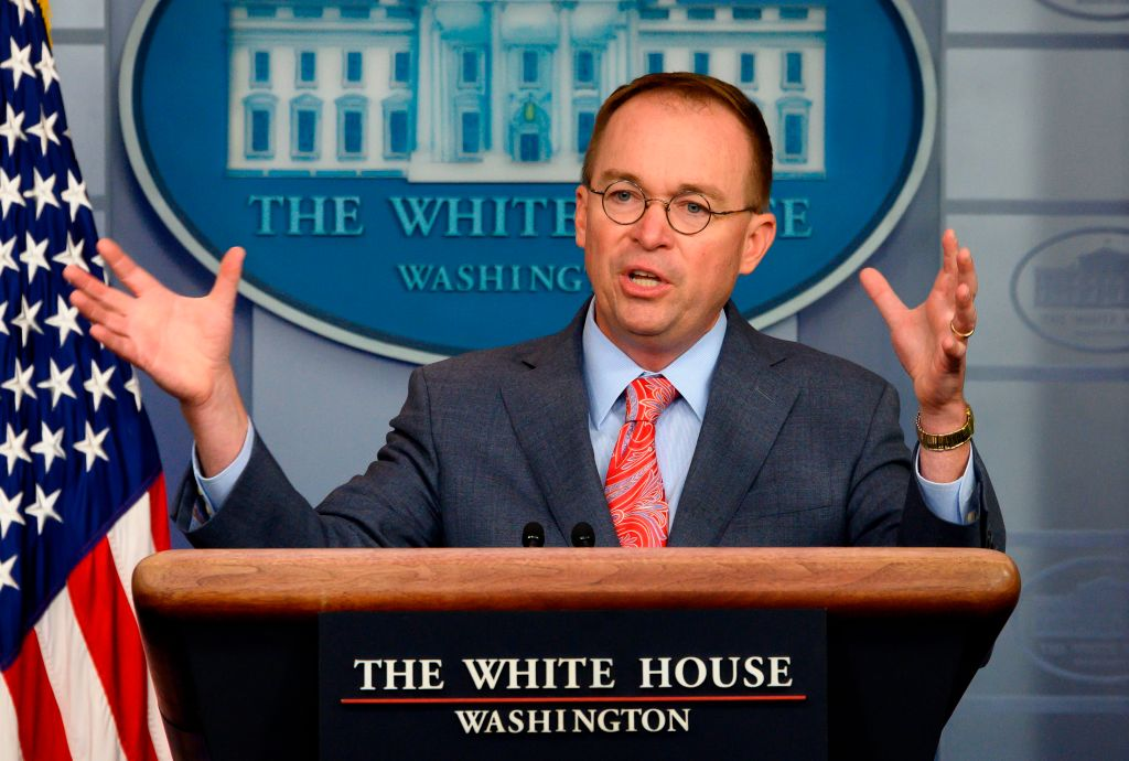 White House Acting Chief of Staff Mick Mulvaney speaks during a press briefing at the White House in Washington, DC, on October 17, 2019.