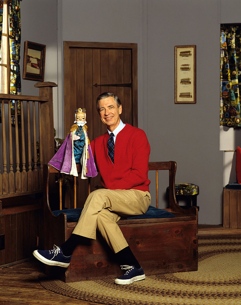 Fred Rogers on the set of his television children's show.