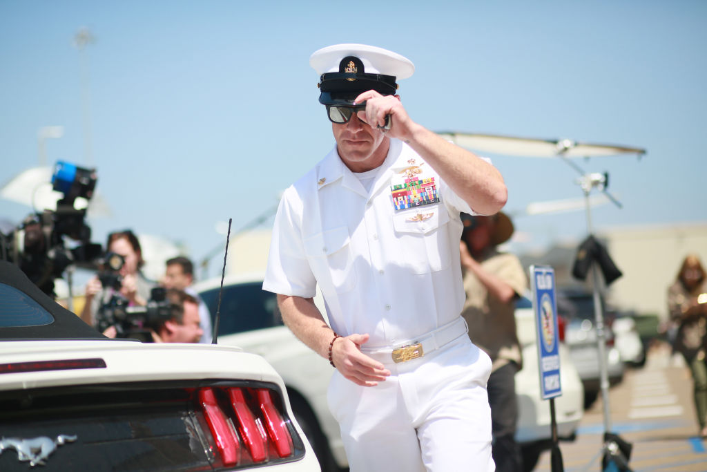 Navy Special Operations Chief Edward Gallagher walks out of military court during lunch recess on July 2, 2019 in San Diego, California.