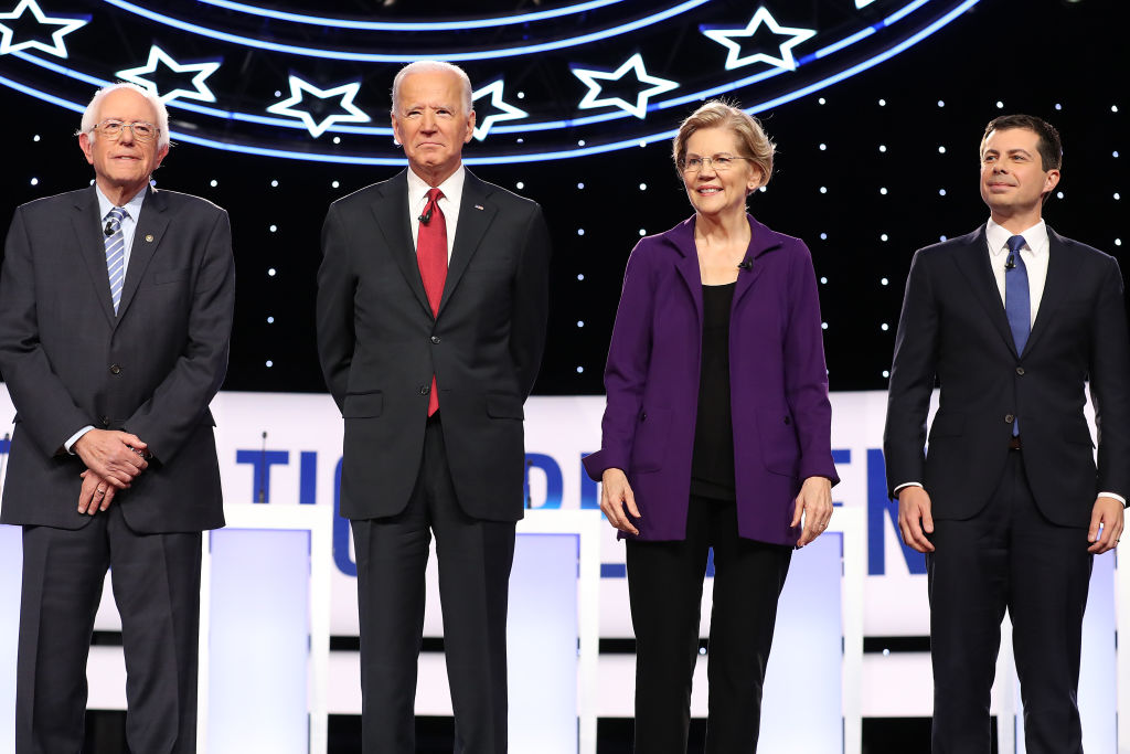 Sen. Bernie Sanders, former Vice President Joe Biden, Sen. Elizabeth Warren, and South Bend, Ind., Mayor Pete Buttigieg are introduced before the Democratic Presidential Debate at Otterbein University on October 15, 2019 in Westerville, Ohio.