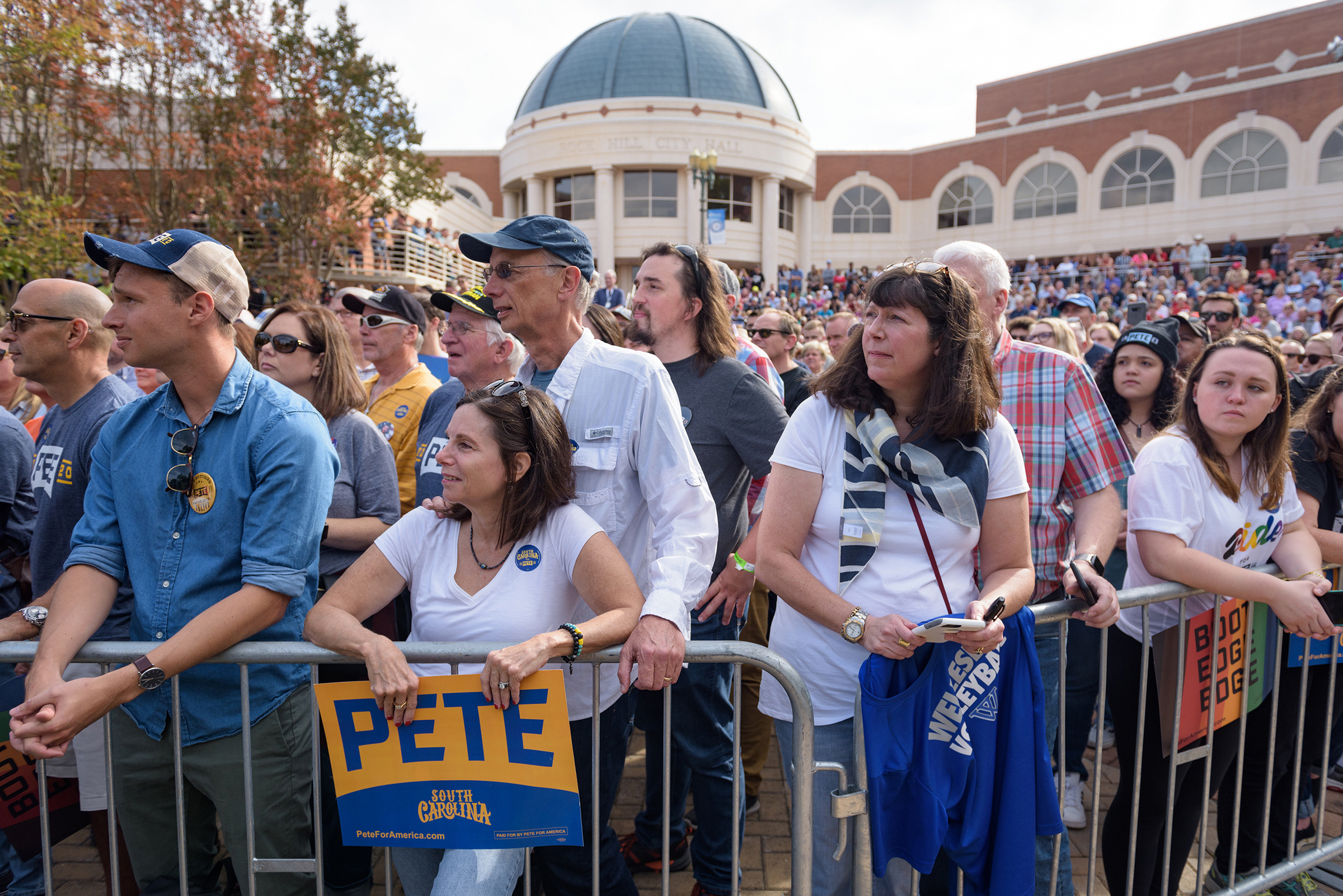 Attendees wait for Mayor Pete Buttigieg of South Bend, Ind., a Democratic presidential hopeful, to arrive at a campaign event in Rock Hill, S.C., on Oct. 26, 2019.