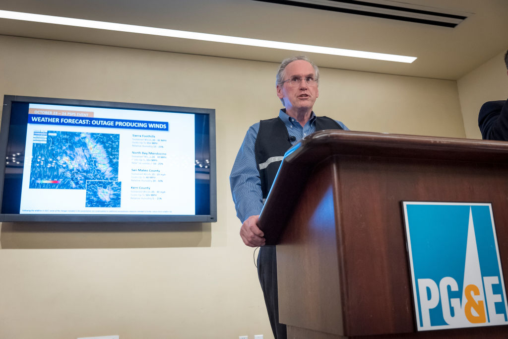 Bill Johnson, chief executive officer of Pacific Gas and Electric Corp. speaks during a news conference at PG&E headquarters in San Francisco on Oct. 23, 2019.
