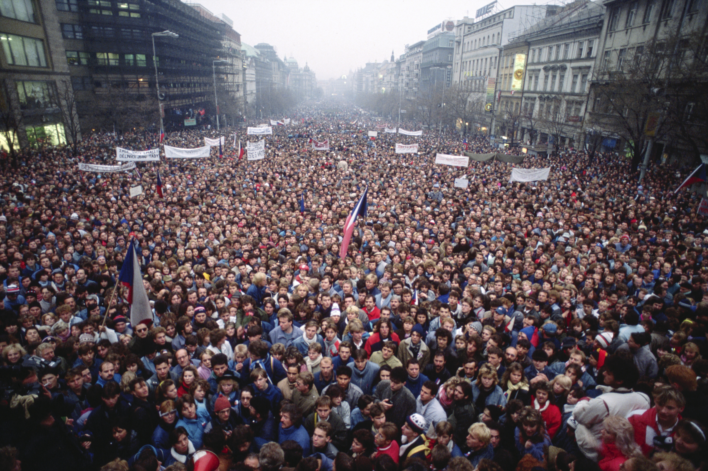 Czechoslovakian citizens flood the streets of Prague during the Velvet Revolution in 1989