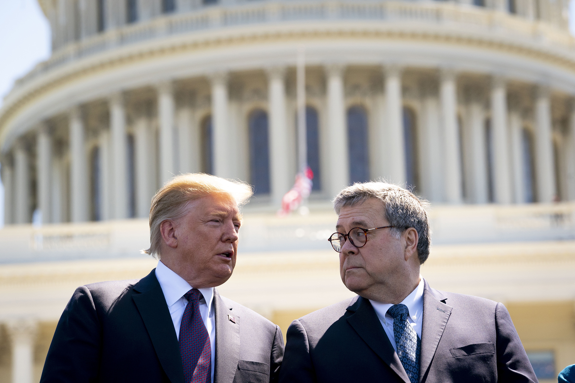 President Donald Trump and Attorney General William Barr on Capitol Hill in Washington D.C., on May 15, 2019.