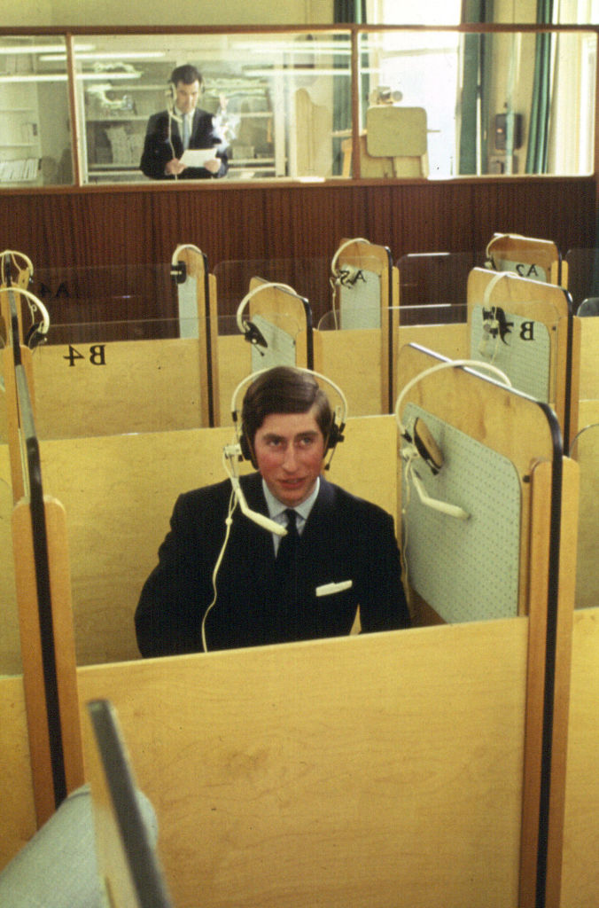 Prince Charles at the University College of Wales, Aberystwyth in the language laboratory on April 20, 1969.