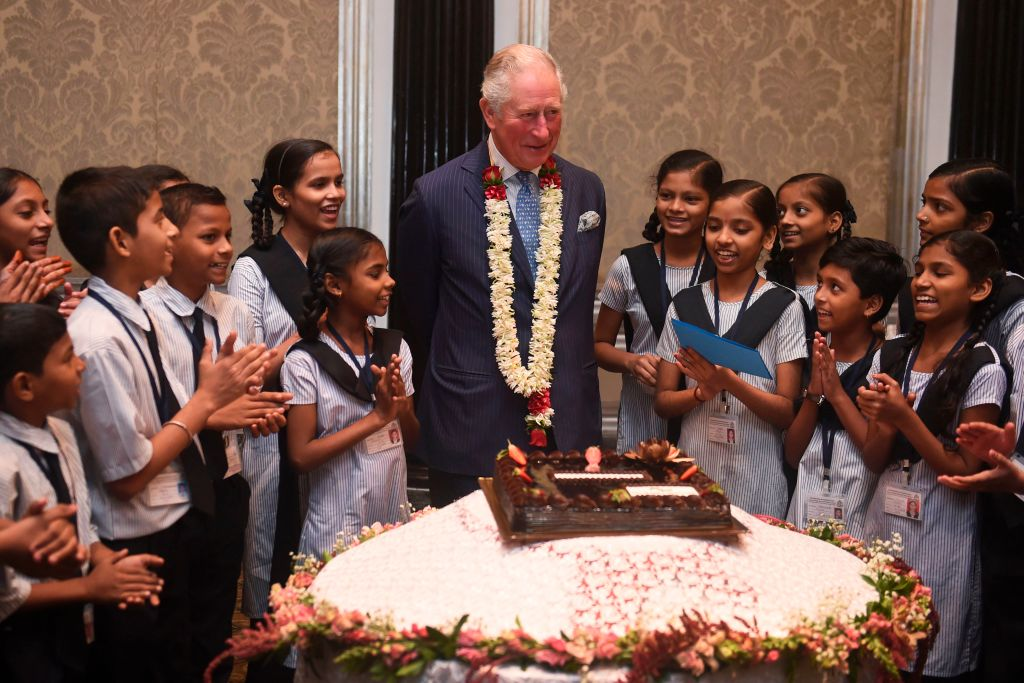 U.K.'s Prince Charles shared a birthday cake with schoolchildren in Mumbai on Nov. 14, 2019.