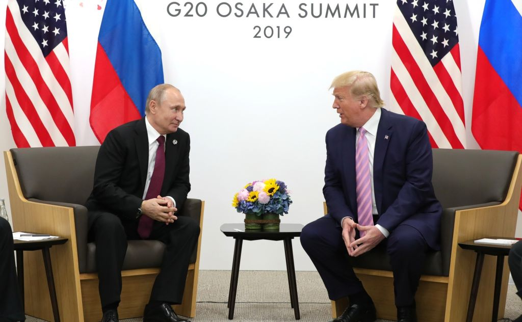 U.S. President Donald Trump meets Russian President Vladimir Putin on the first day of the G20 summit in Osaka, Japan on June 28, 2019.