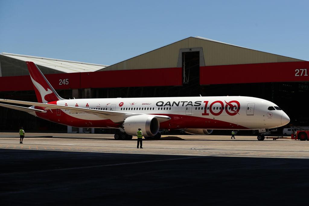 Qantas flight QF7879 direct from London arrives in Sydney, Australia, on Nov. 15, 2019.