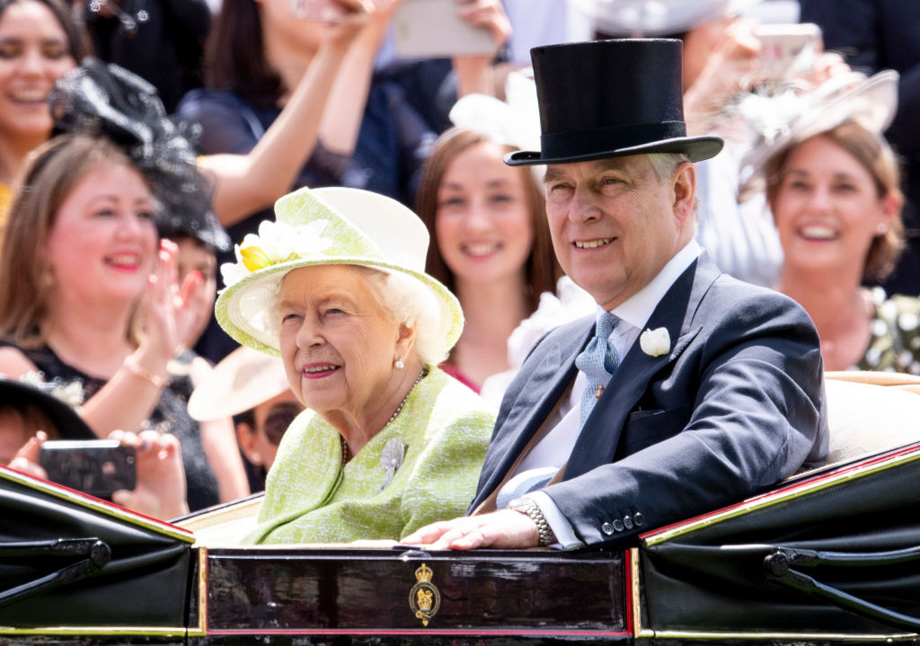 Queen Elizabeth II and Prince Andrew, Duke of York on day five of Royal Ascot at Ascot Racecourse on June 22, 2019 in Ascot, England.