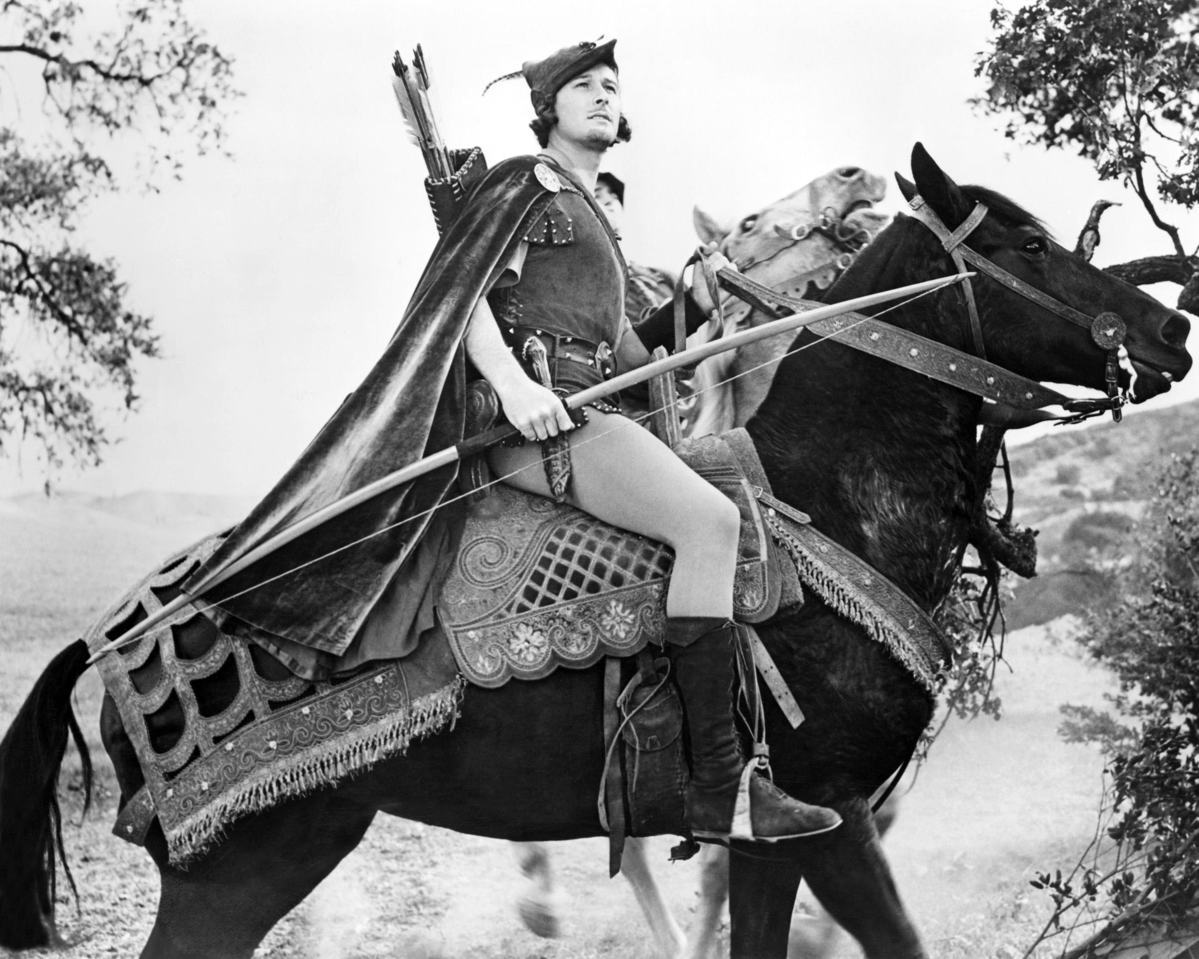 Actor Errol Flynn as Robin Hood in the film 'The Adventures of Robin Hood', 1938.