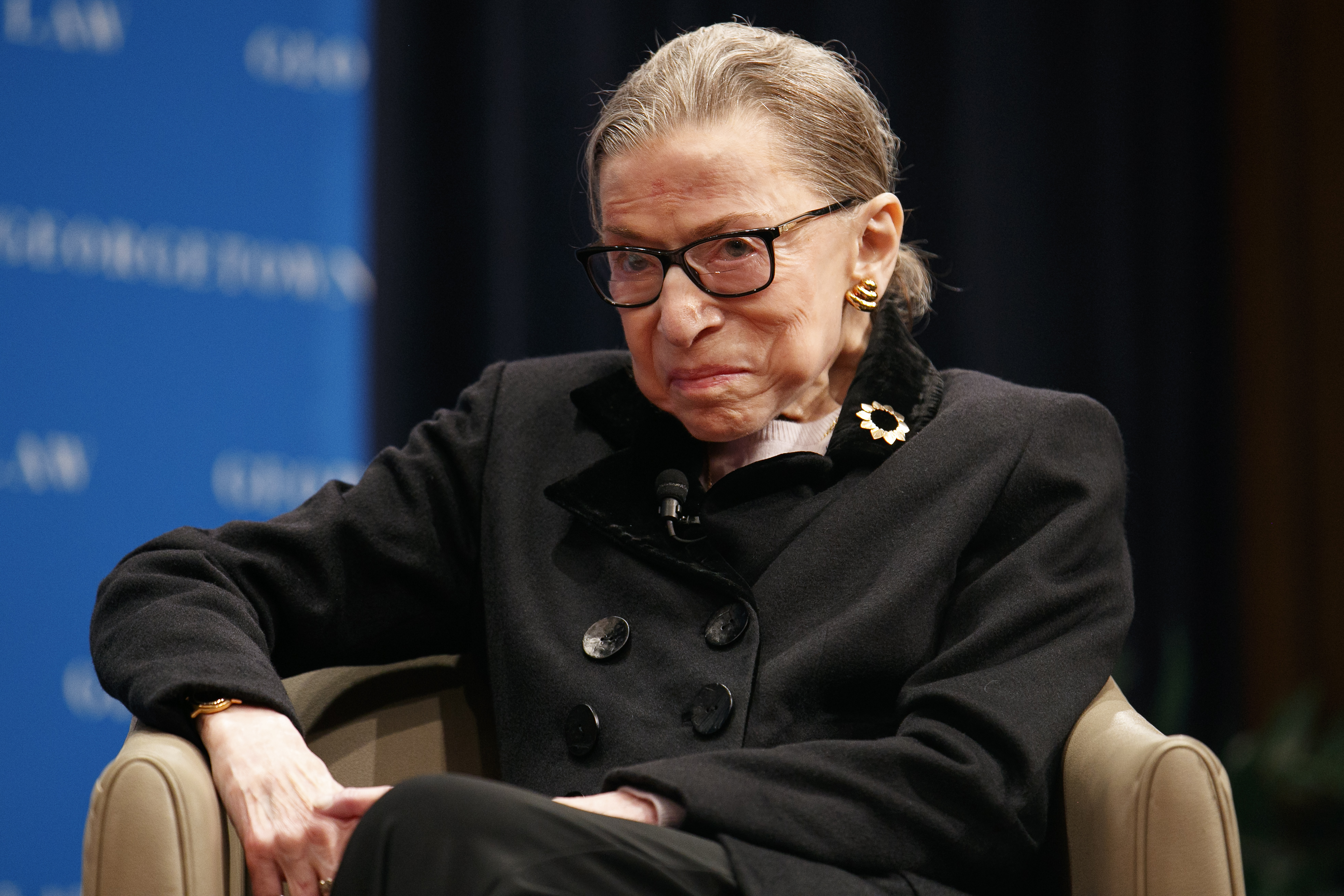Supreme Court Justice Ruth Bader Ginsberg attends a panel with former President Bill Clinton and former Secretary of State Hillary Clinton, Wednesday, Oct. 30, 2019, at Georgetown Law's second annual Ruth Bader Ginsburg Lecture, in Washington.
