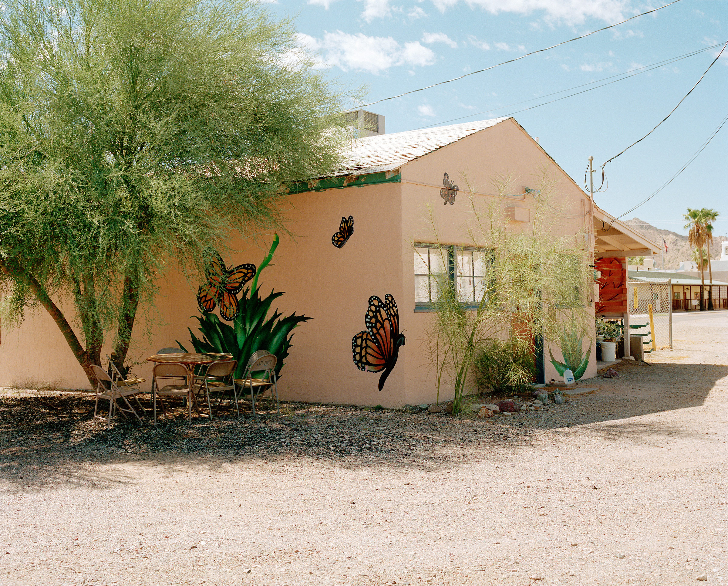 The exterior of the Ajo Humanitarian Aid Office is painted with murals of monarch butterflies, a symbol often used by immigrant rights advocates because of the insect's migratory patterns from Mexico to the United States.