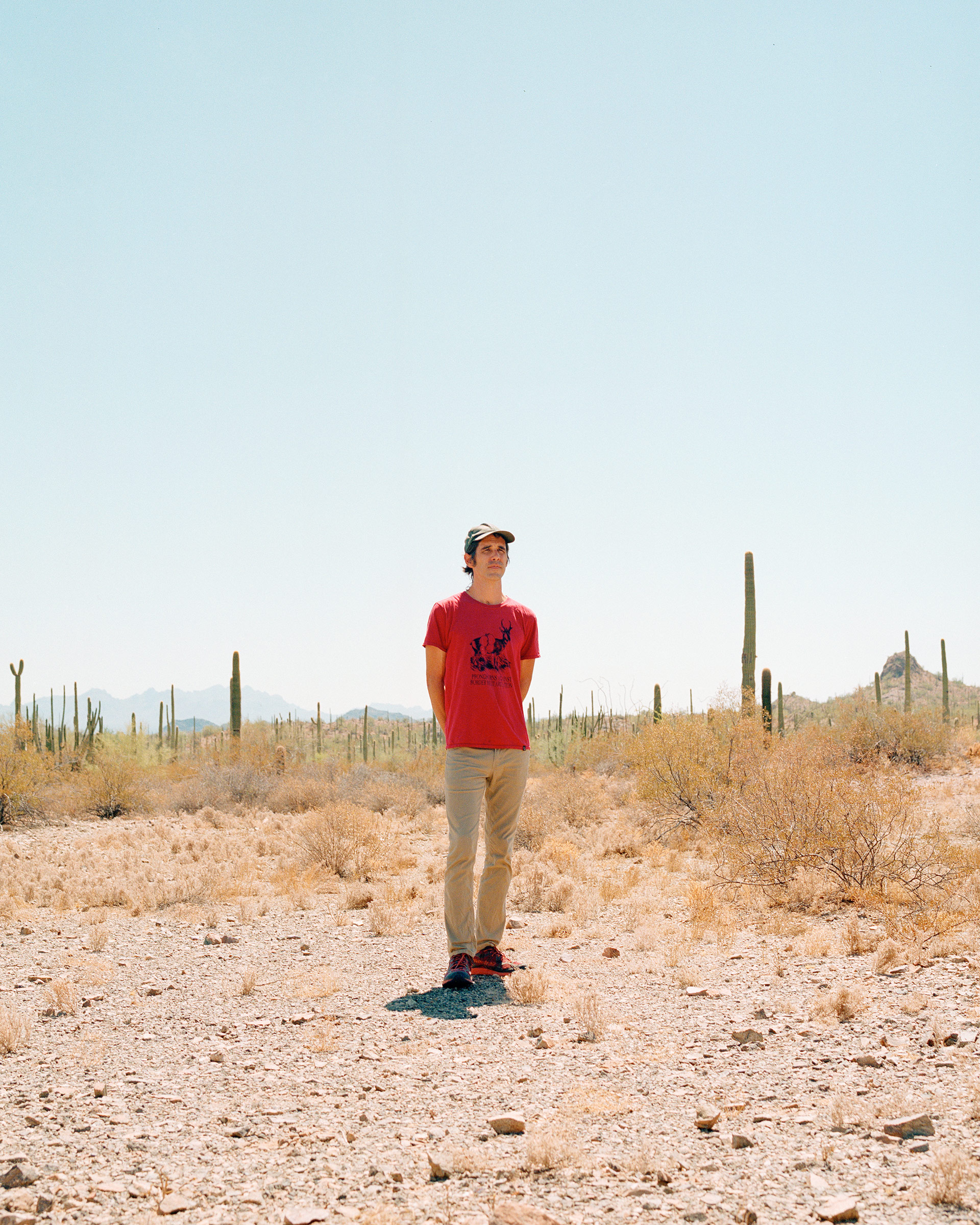 Scott Warren in the desert on the outskirts of Ajo, Ariz., on Sept 17.