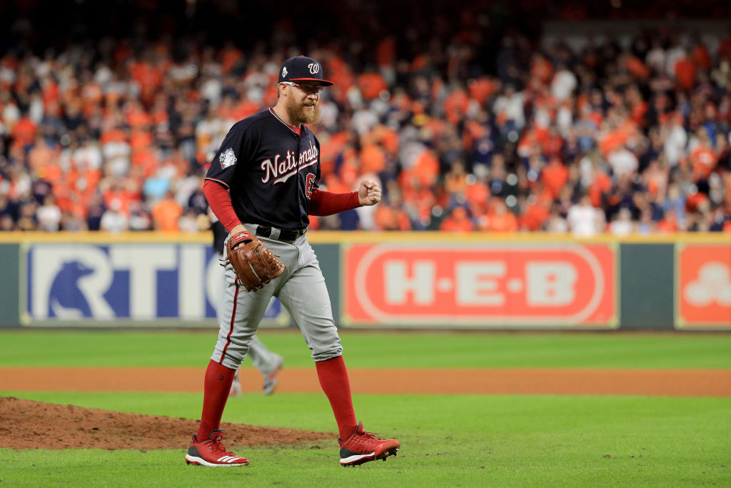 Sean Doolittle of the Washington Nationals during Game Six of the 2019 World Series on October 29, 2019