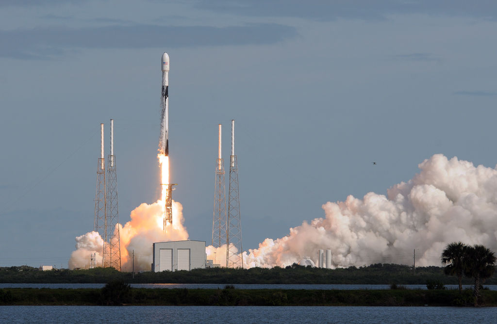 A SpaceX Falcon 9 rocket lifts off from Cape Canaveral Air Force Station carrying 60 Starlink satellites on November 11, 2019 in Cape Canaveral, Florida.