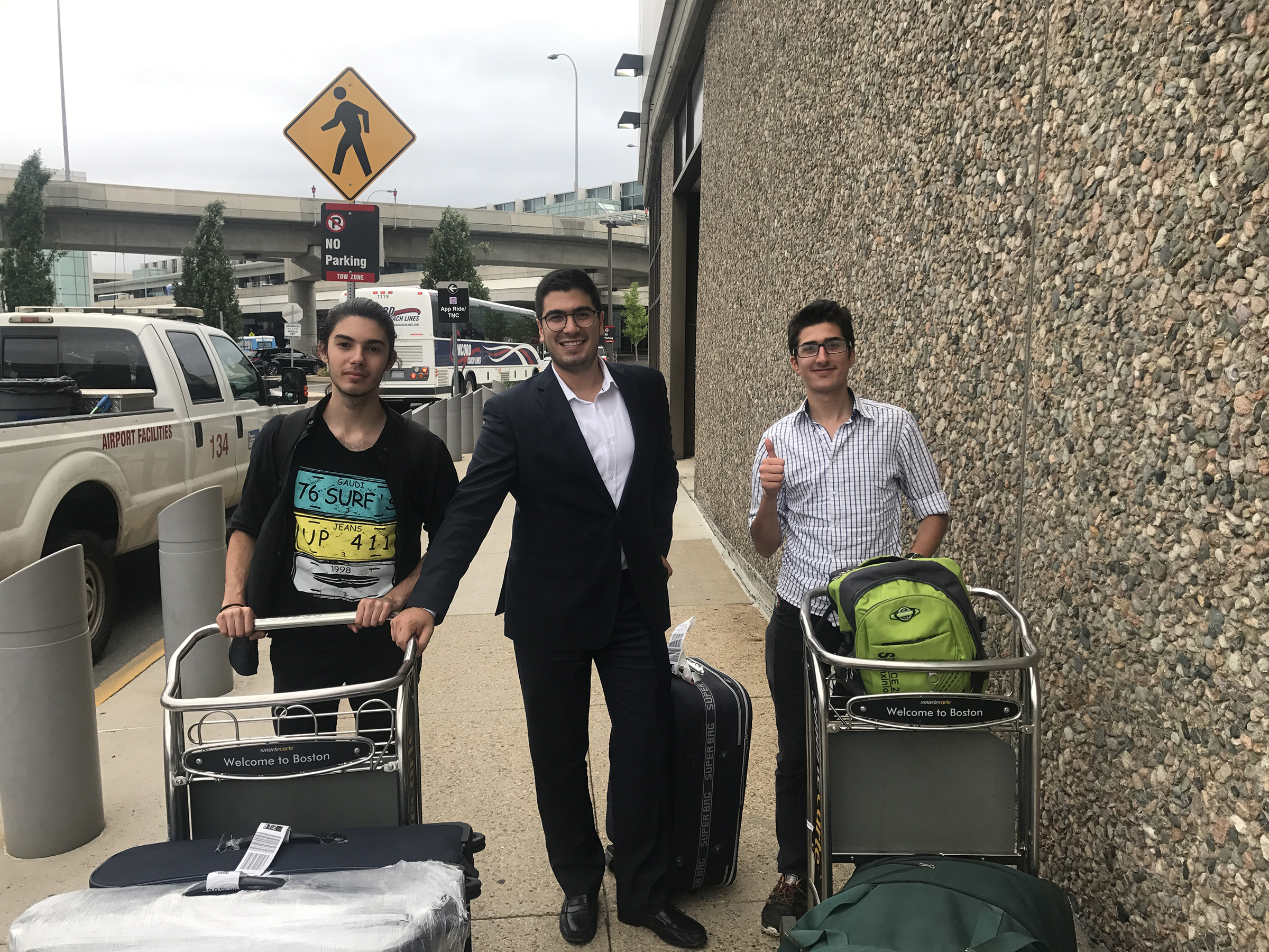 George Batah picking up Nabil Khalil from Aleppo and Hussam Salhab from Damascus at Logan Airport in Boston, on Aug. 18, 2017.