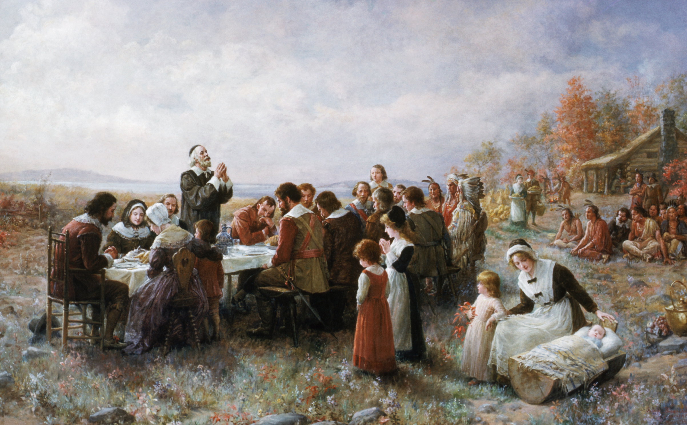 'The First Thanksgiving' by Jennie Augusta Brownscombe, an example of the kind of vision of Thanksgiving that spread in the 19th century