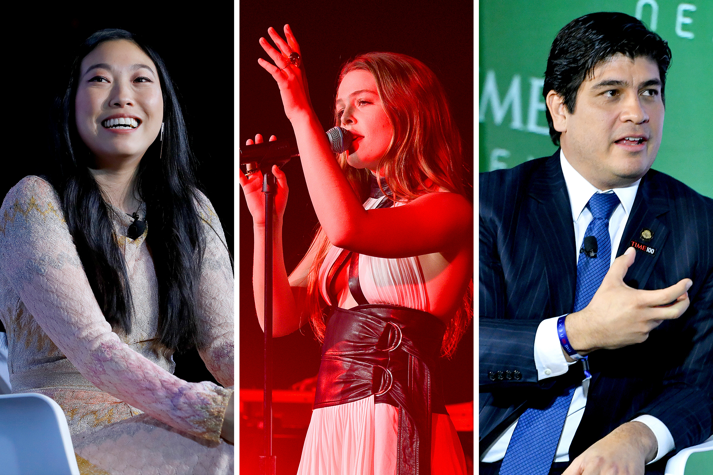 Awkwafina, Maggie Rogers, and President of Costa Rica Carlos Alvarado Quesada at the TIME 100 Next event at Pier 17 in New York on Nov. 14, 2019.