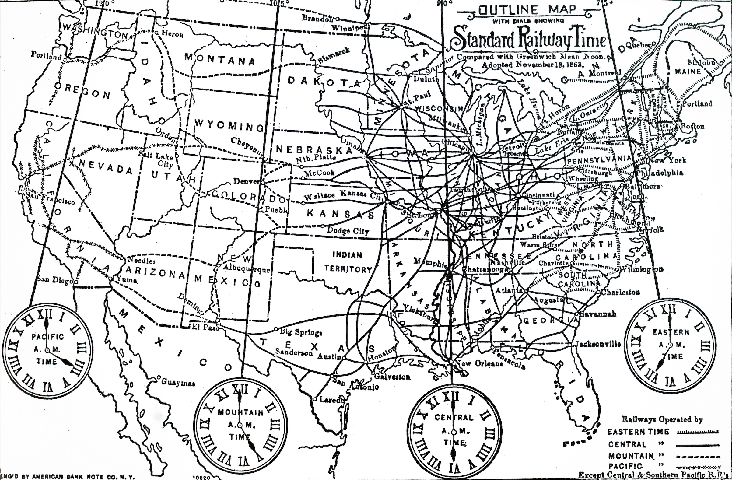 Map of time zones into which the U.S. was divided after the adoption of Standard Time on Nov. 18, 1883. Dated 19th century.