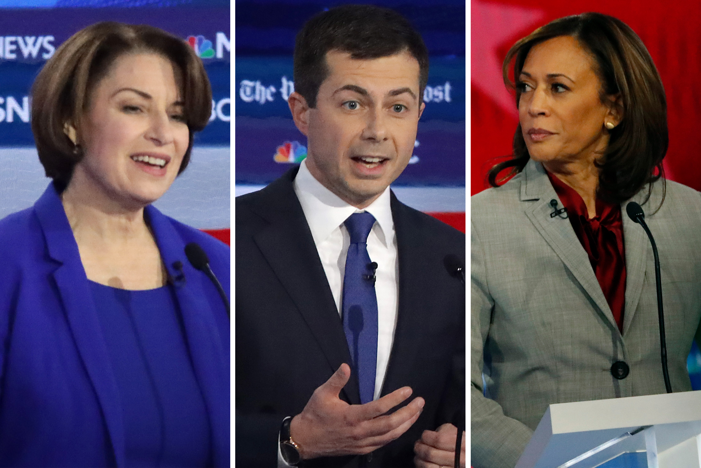 (L-R) Democratic presidential candidates Sen. Amy Klobuchar (D-MN), South Bend, Indiana Mayor Pete Buttigieg, and  Sen. Kamala Harris, D-Calif.