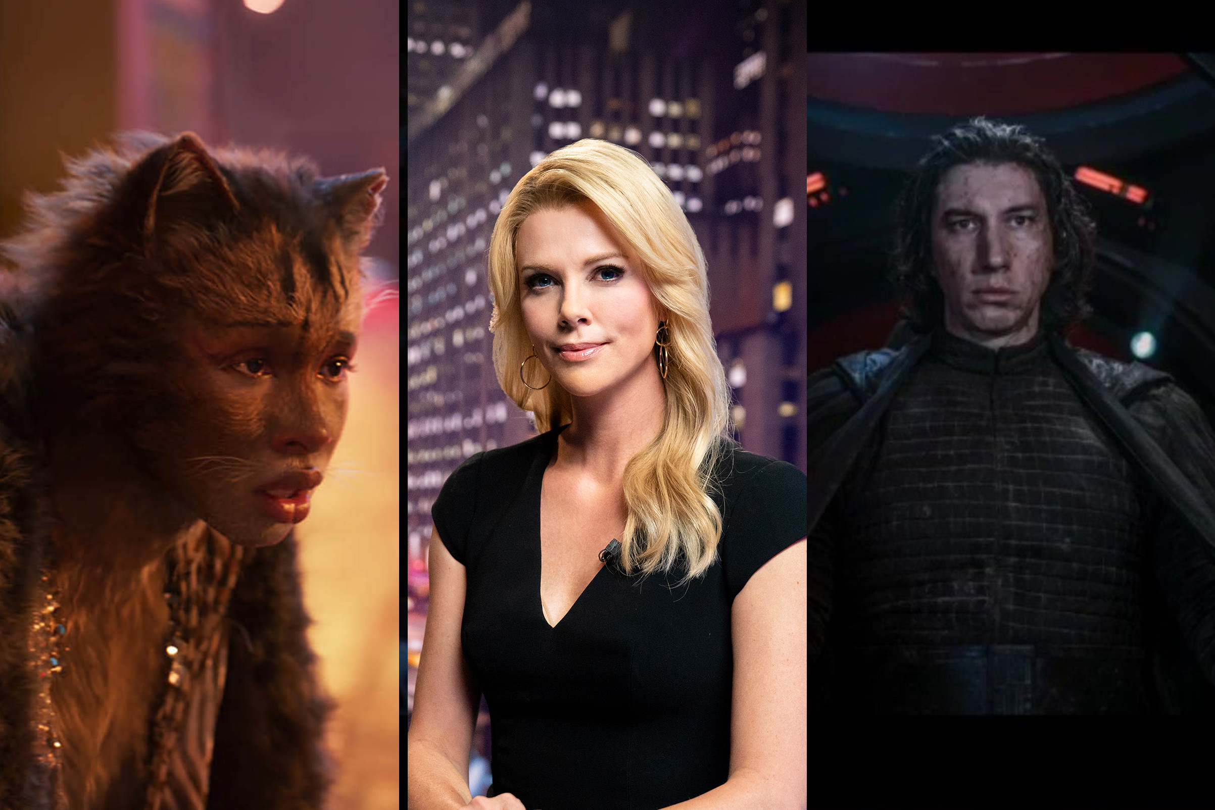 (L-R) Jennifer Hudson in 'Cats', Charlize Theron in 'Bombshell', and Adam Driver in 'Star Wars: The Rise of Skywalker'