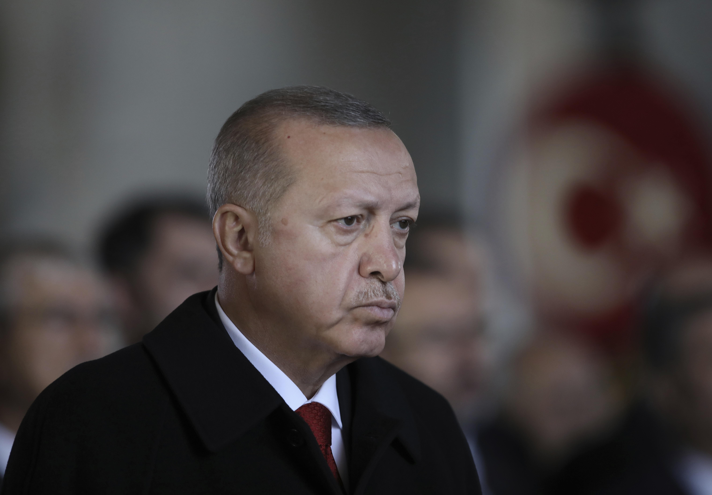 Turkey's President Recep Tayyip Erdogan stands during a ceremony commemorating Mustafa Kemal Ataturk on the 81st anniversary of his death at his mausoleum, in Ankara, Turkey, on Nov. 10, 2019.