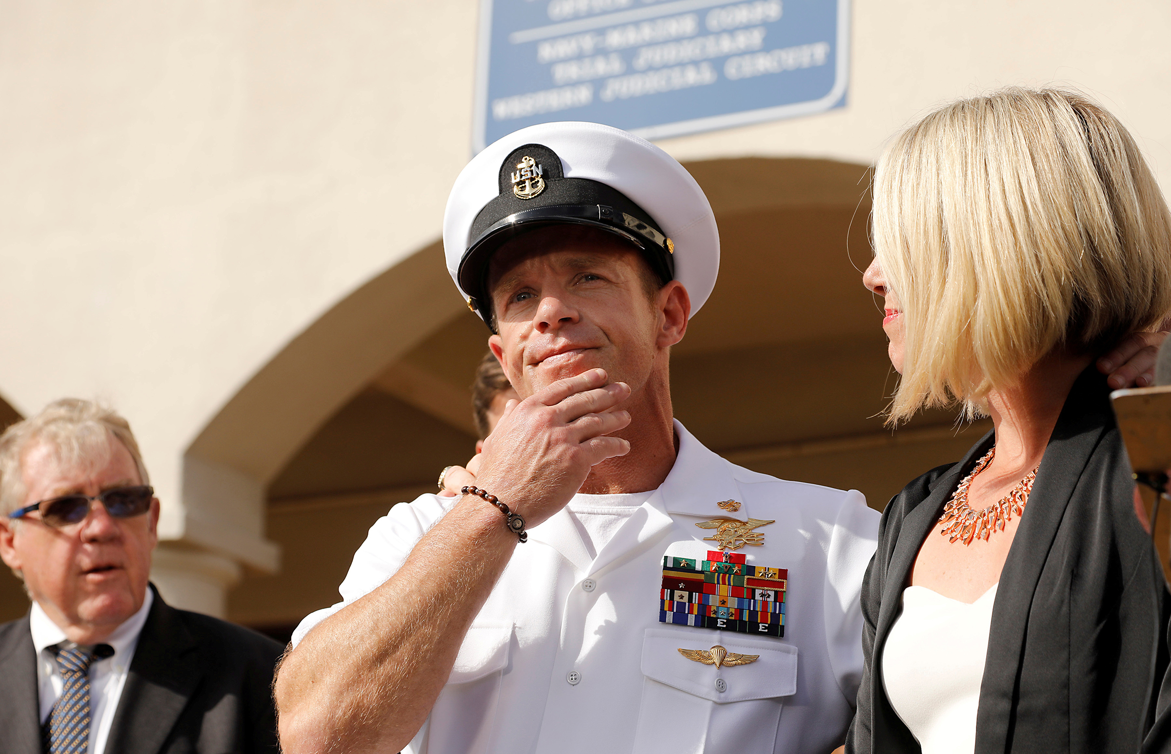 U.S. Navy SEAL Special Operations Chief Edward Gallagher prepares to answer a question from the media after being acquitted on most of the serious charges against him during his court-martial trial at Naval Base San Diego in San Diego, California on July 2,  2019.