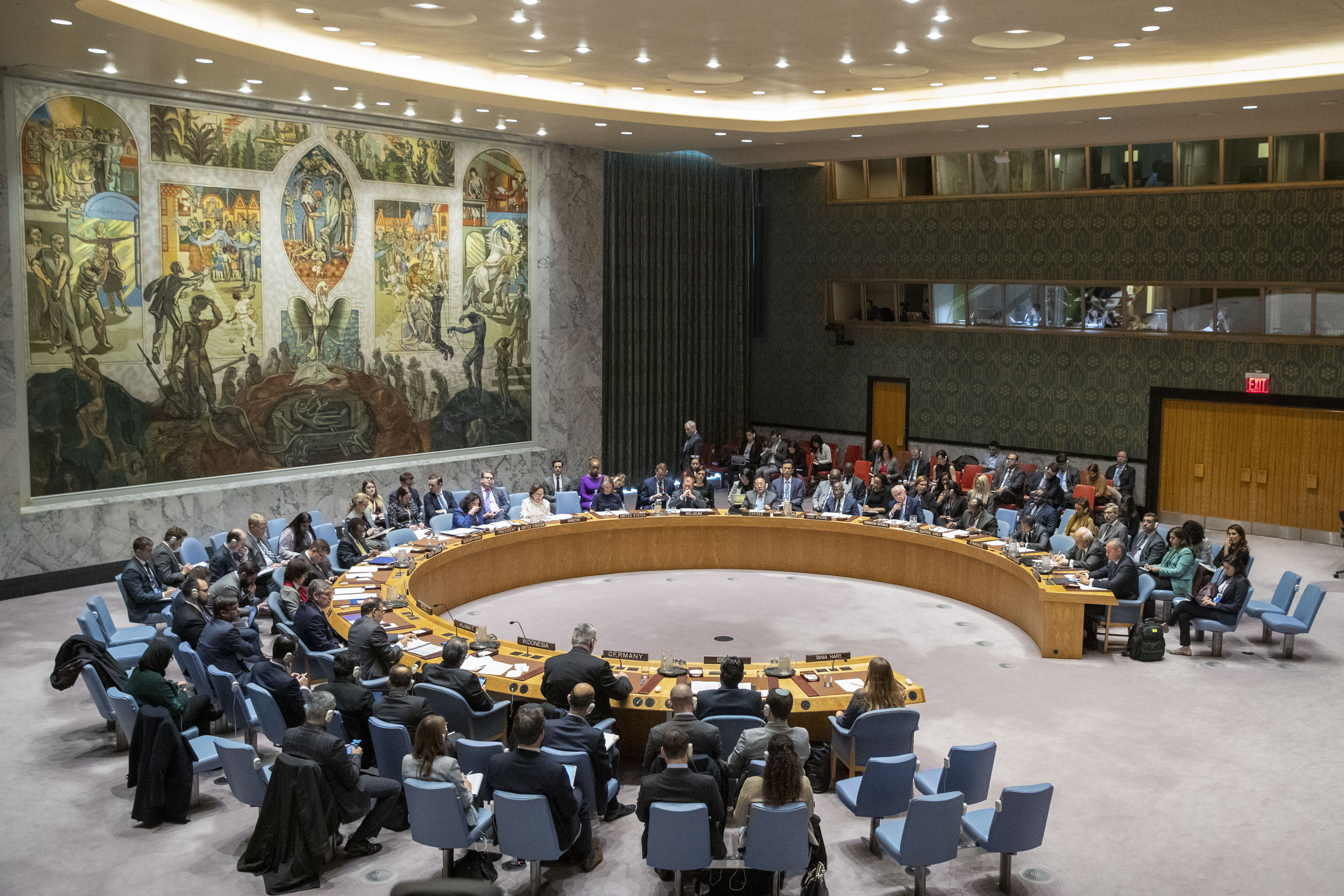 The UN Security Council holds a meeting on the Middle East, including the Palestinian question, Wednesday, Nov. 20, 2019 at United Nations headquarters.