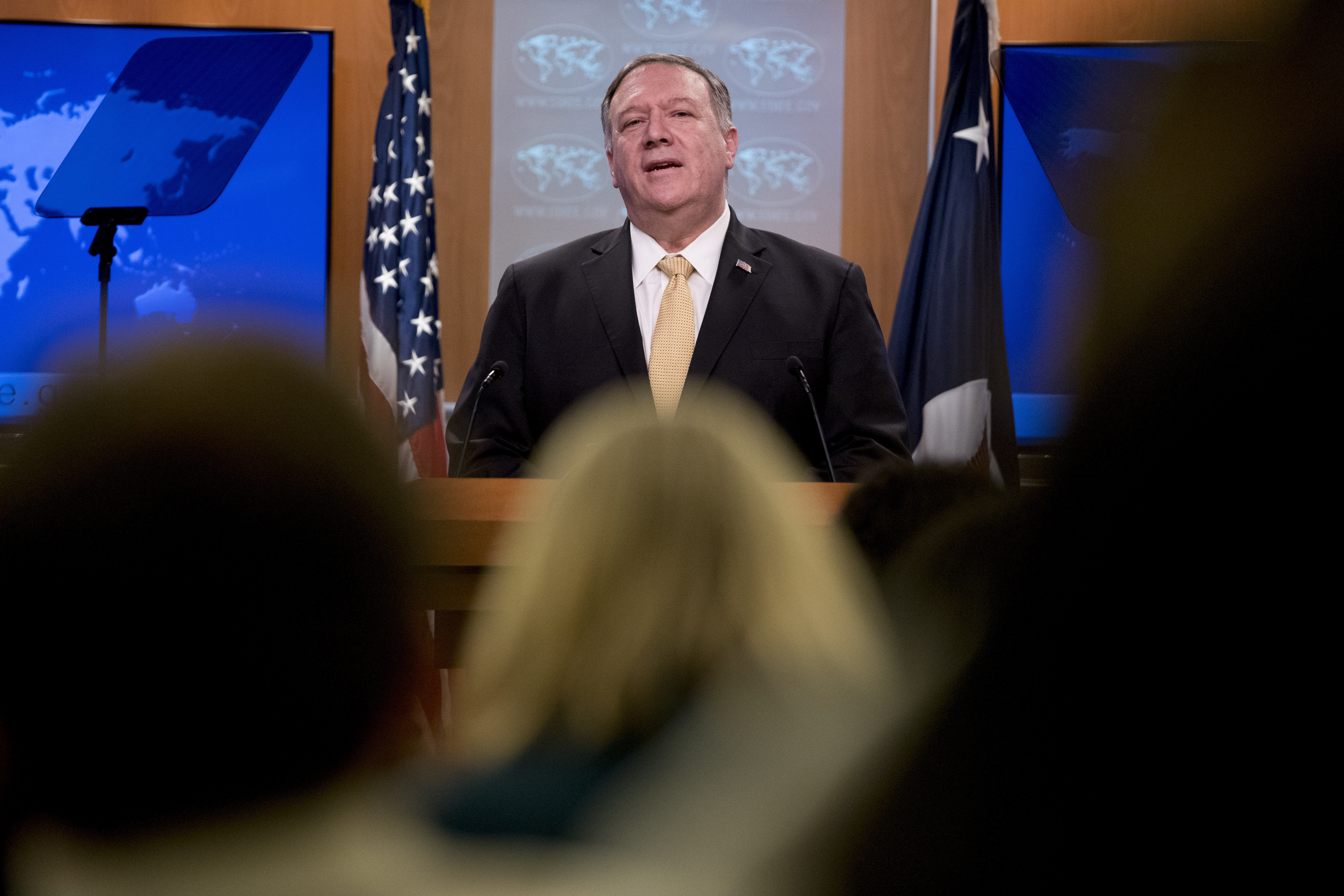 Secretary of State Mike Pompeo speaks at a news conference at the State Department in Washington on Nov. 18, 2019.