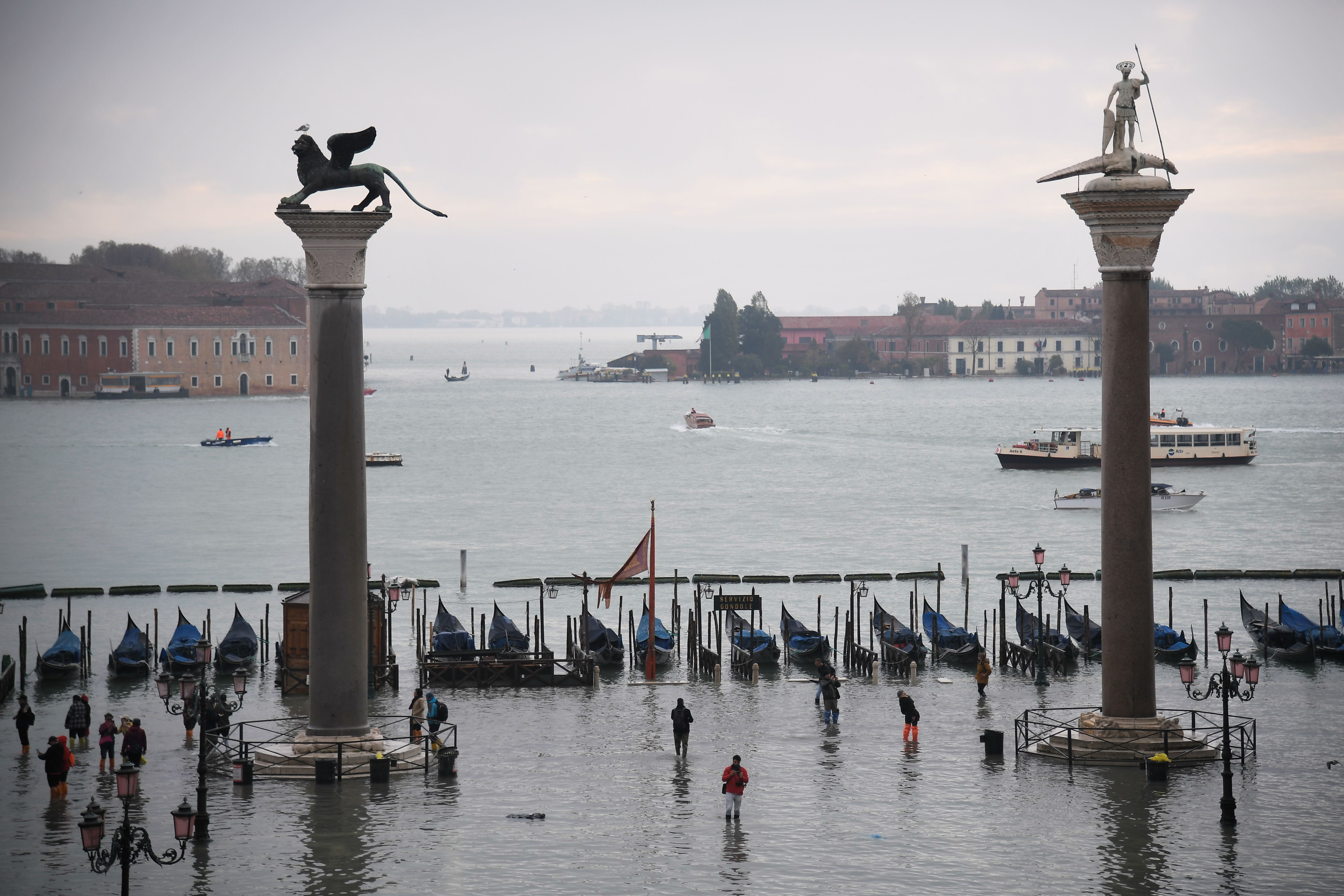 A general view shows the flooded St. Mark's Square after an exceptional overnight  Alta Acqua  high tide water level, on Nov. 13, 2019 in Venice.