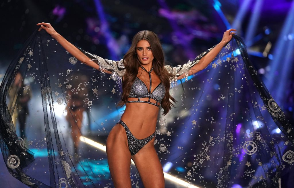 US model Taylor Hill walks the runway at the 2018 Victoria's Secret Fashion Show on November 8, 2018 at Pier 94 in New York City.