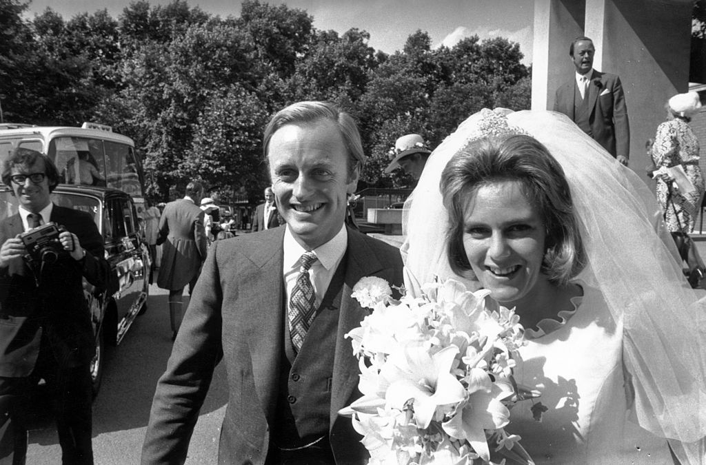 Camilla Shand and Captain Andrew Parker Bowles outside the Guards' Chapel on their wedding day on July 4,1973.