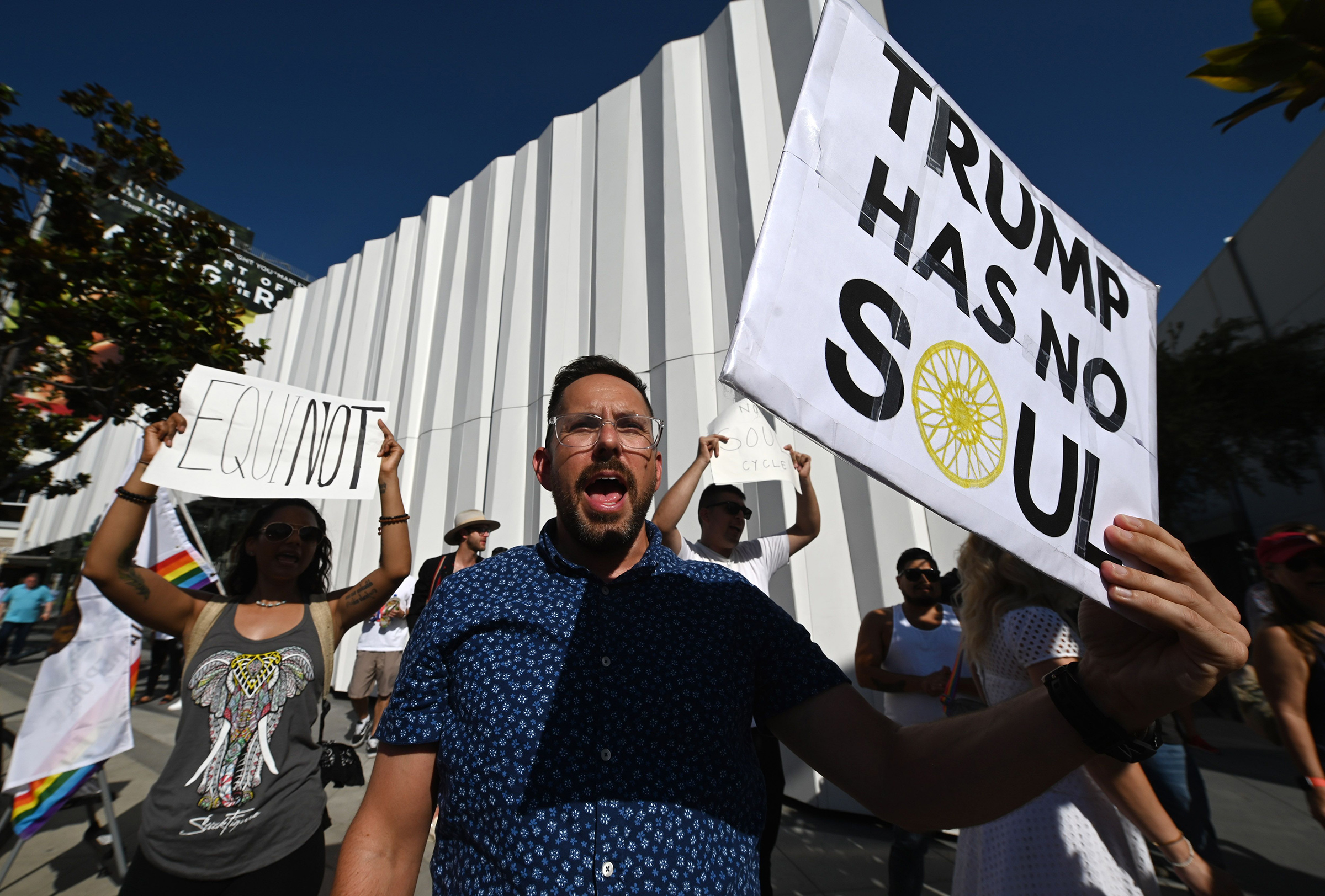 Protesters outside an Equinox in West Hollywood, Calif., on Aug. 9