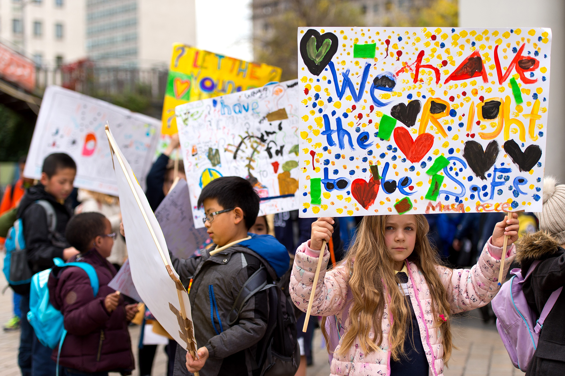 Children march around Southbank Centre in London to celebrate children and young people's rights on Oct. 22, 2015.