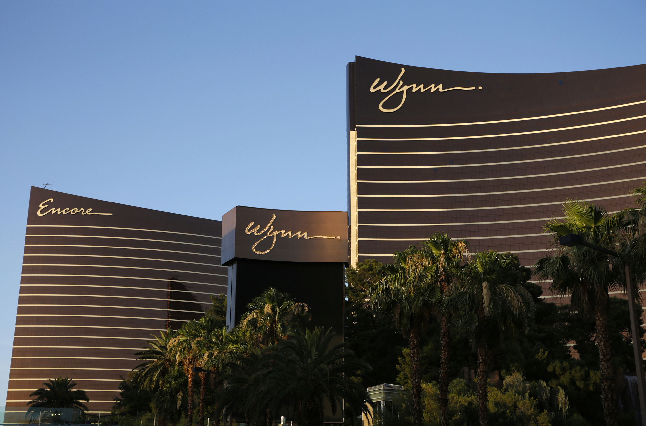 This June 17, 2014, file photo shows the Wynn Las Vegas and Encore resorts in Las Vegas, Nevada.