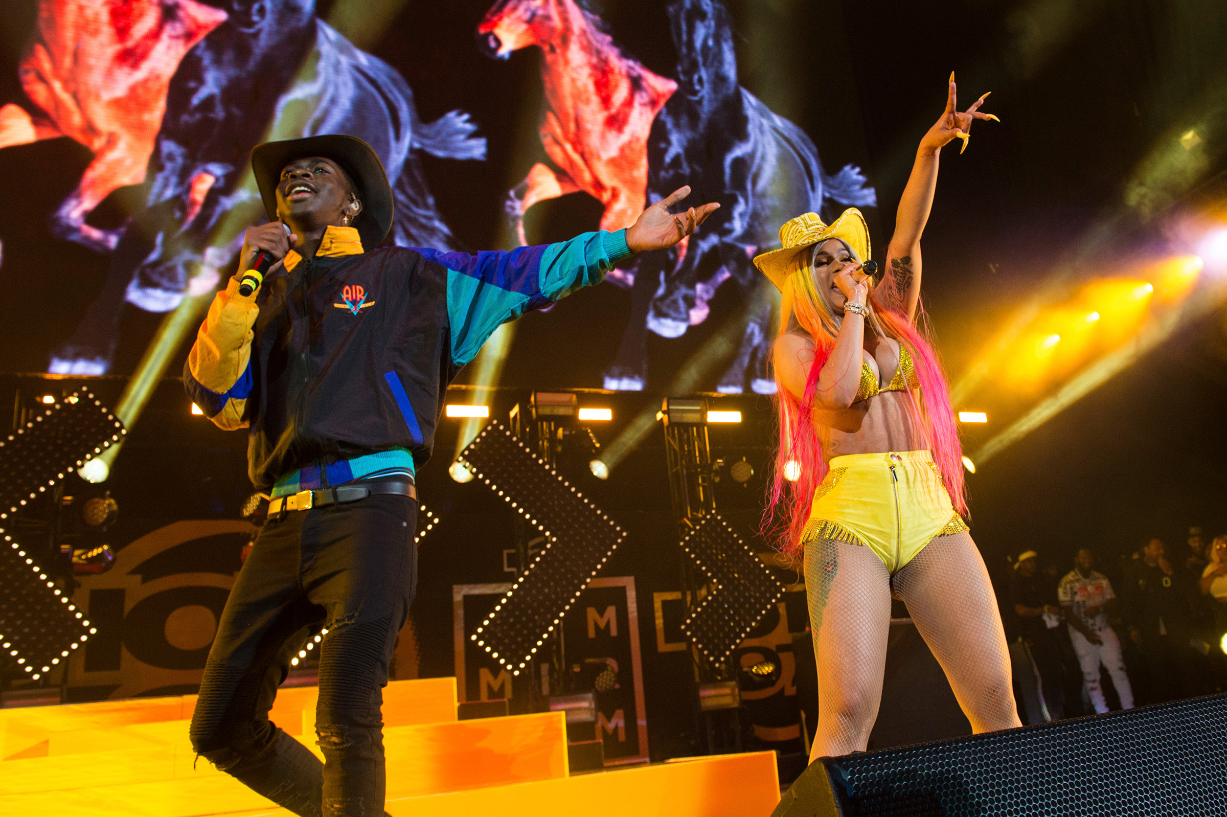 Lil Nas X, left, and Cardi B perform at MetLife Stadium in New Jersey on June 2, 2019