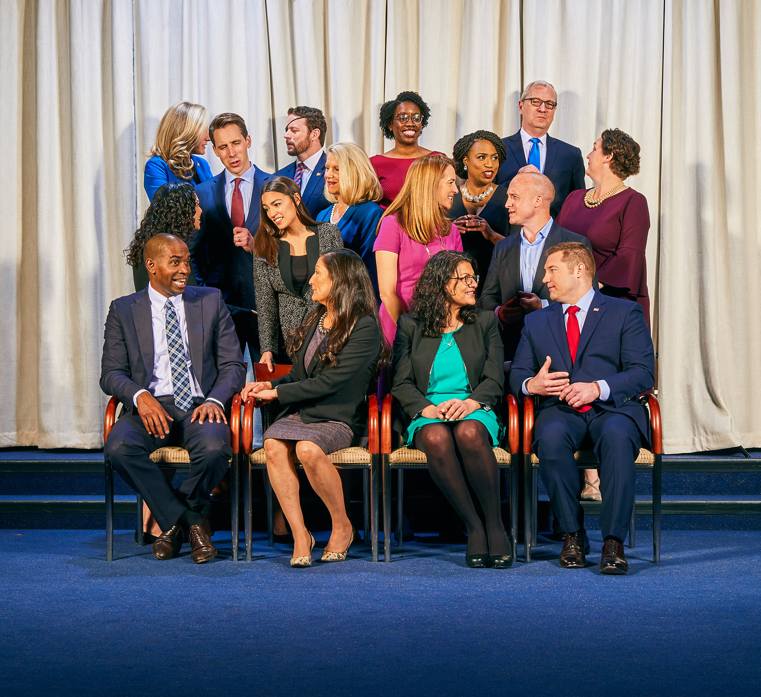 Front row, from left to right: Rep. Antonio Delgado (D–NY), Rep. Deb Haaland (D–NM), Rep. Rashida Tlaib (D–MI), Rep. Guy Reschenthaler (R–PA); Second row, from left to right: Rep. Xochitl Torres Small (D–NM), Rep. Alexandria Ocasio-Cortez (D–NY), Rep. Mikie Sherrill (D–NJ), Rep. Max Rose (D–NY), Third row, from left to right: Sen. Josh Hawley (R–MO), Rep. Carol Miller (R–WV), Rep. Ayanna Pressley (D–MA), Rep. Katie Porter (D–CA); Fourth/last row, from left to right: Rep. Abigail Spanberger (D–VA), Rep. Dan Crenshaw (R–TX), Rep. Lauren Underwood (D–IL), Sen. Kevin Cramer (R–ND).  The class of 2019 looks more like America,  Jan. 21 issue.