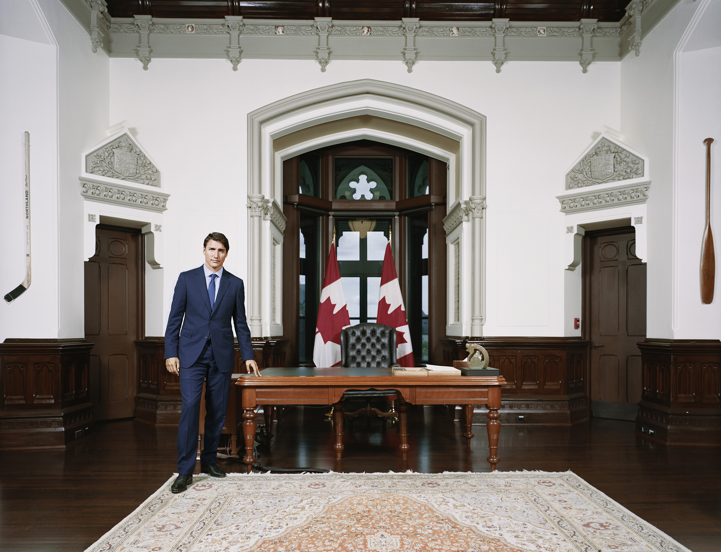Canadian Prime Minister Justin Trudeau.  The Reckoning,  Oct. 7 issue.