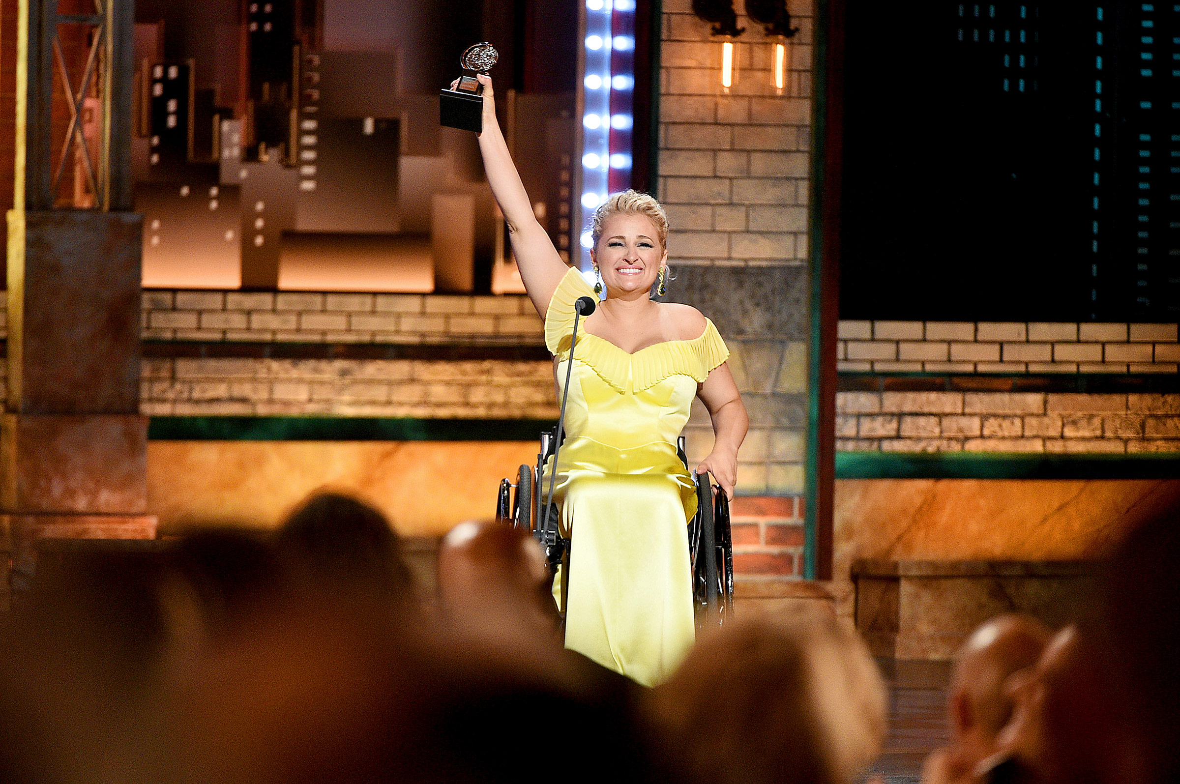 Ali Stroker accepts the Best Performance by an Actress in a Featured Role in a Musical award for Oklahoma! during the 2019 Tony Awards in New York City on June 9, 2019.