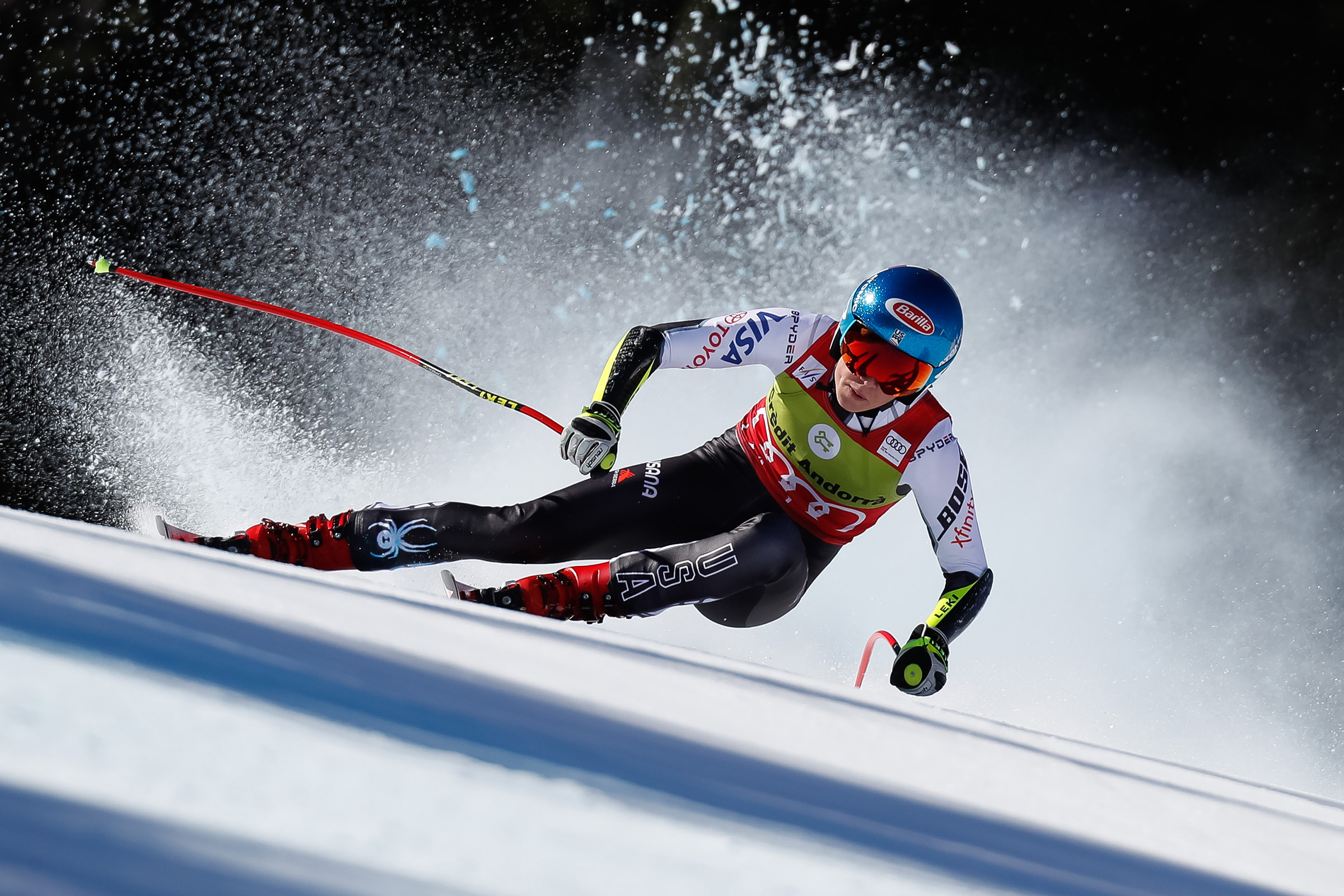 Mikaela Shiffrin of USA competes during the Audi FIS Alpine Ski World Cup Men's and Women's Super G in Soldeu Andorra on March 14, 2019.