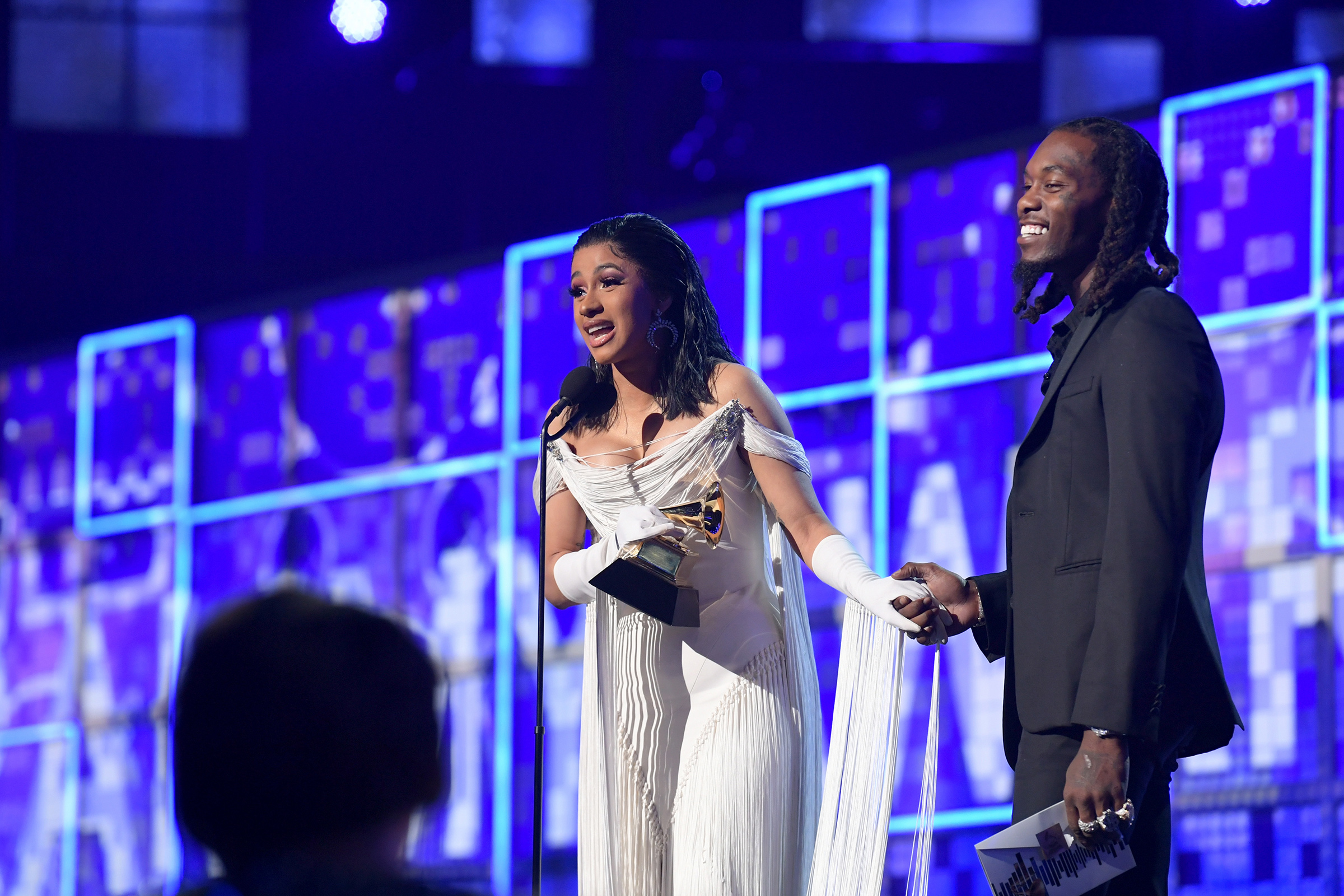 Cardi B accepts the Grammy for Best Rap Album during the 61st Annual Grammy Awards in Los Angeles, on Feb. 10, 2019.