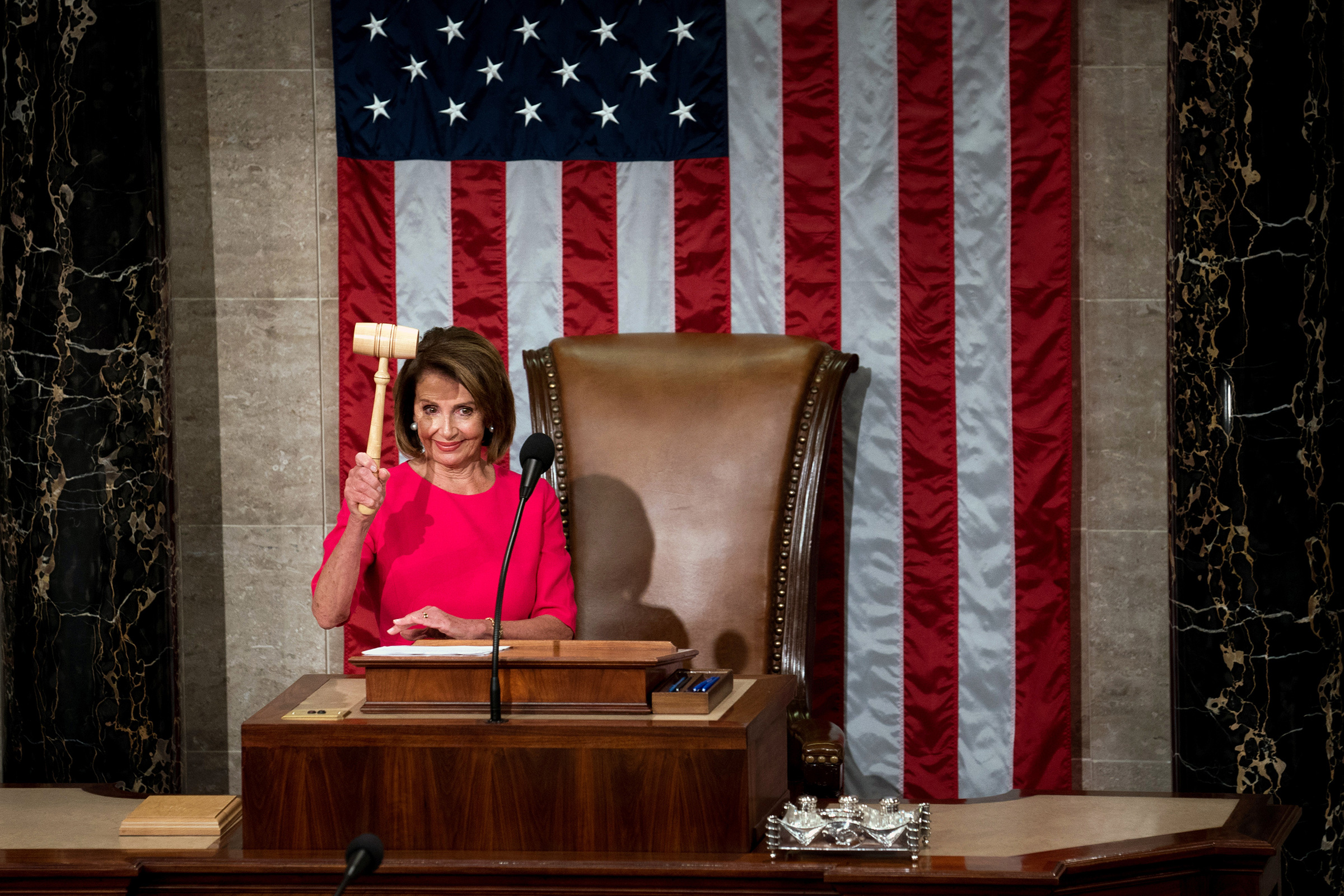 Rep. Nancy Pelosi wields the gavel after her election as Speaker of the House at the Capitol in Washington, D.C. on Jan. 3, 2019.