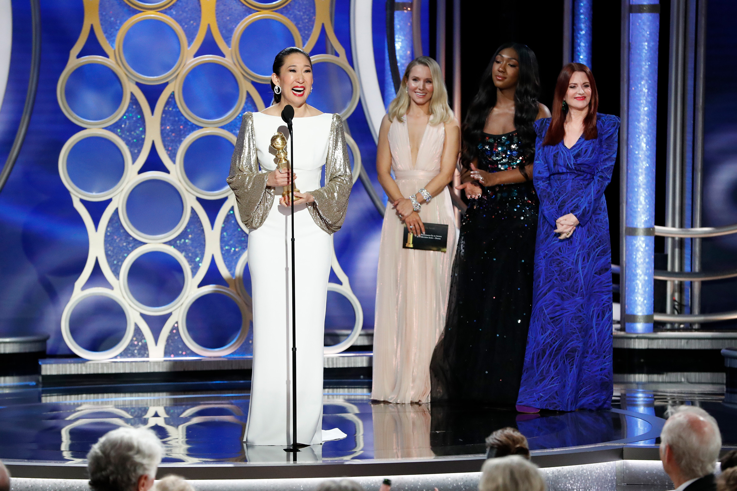 Sandra Oh accepts the Best Performance by an Actress in a Television Series Drama award during the 76th Annual Golden Globe Awards on Jan. 6, 2019.