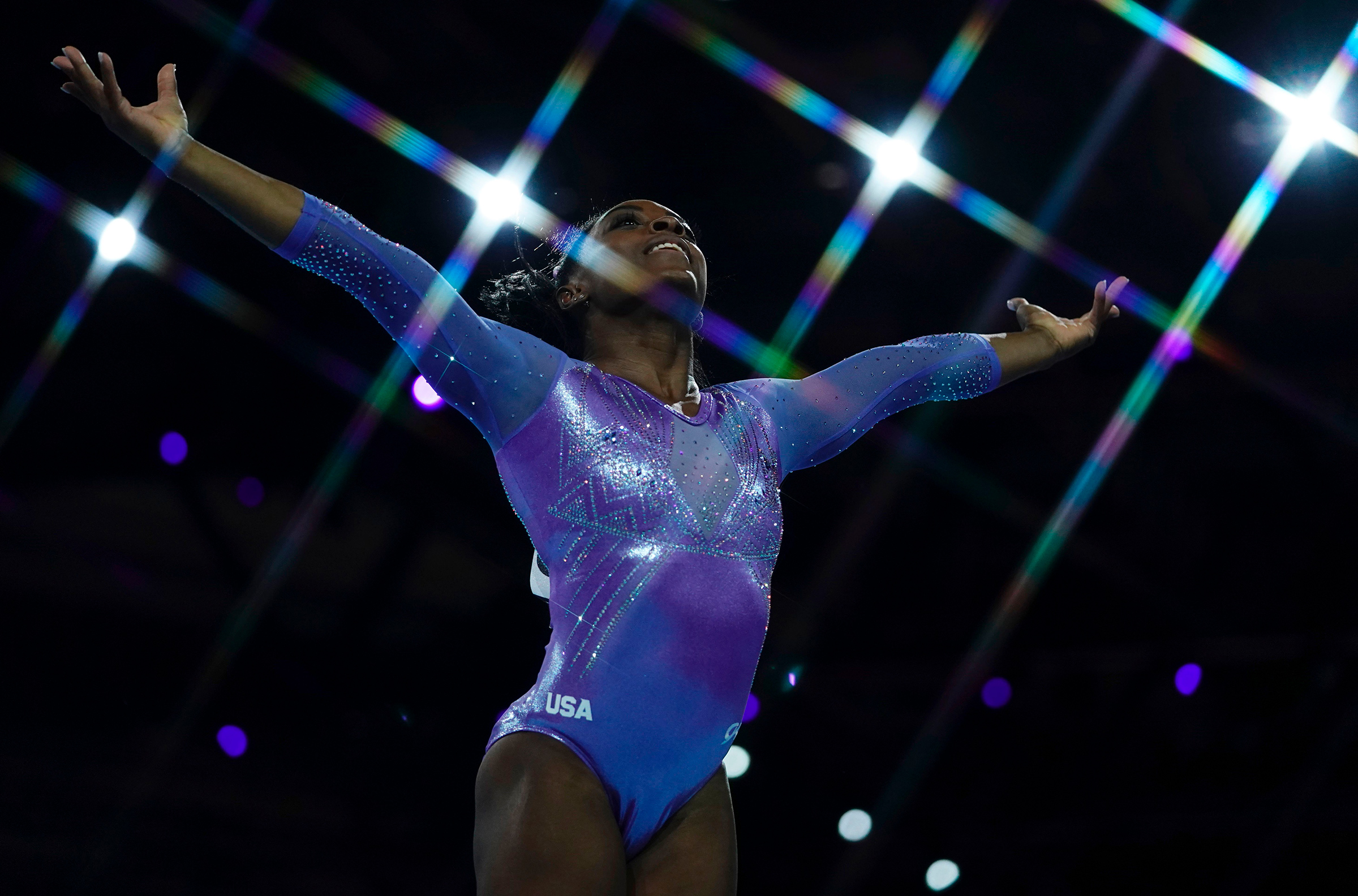 USA's Simone Biles performs during the apparatus finals at the FIG Artistic Gymnastics World Championships in Stuttgart, Germany, on Oct. 13, 2019.