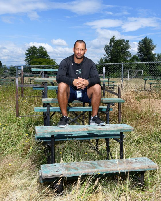 Parkrose High School football and track coach Keanon Lowe in Portland on June 25