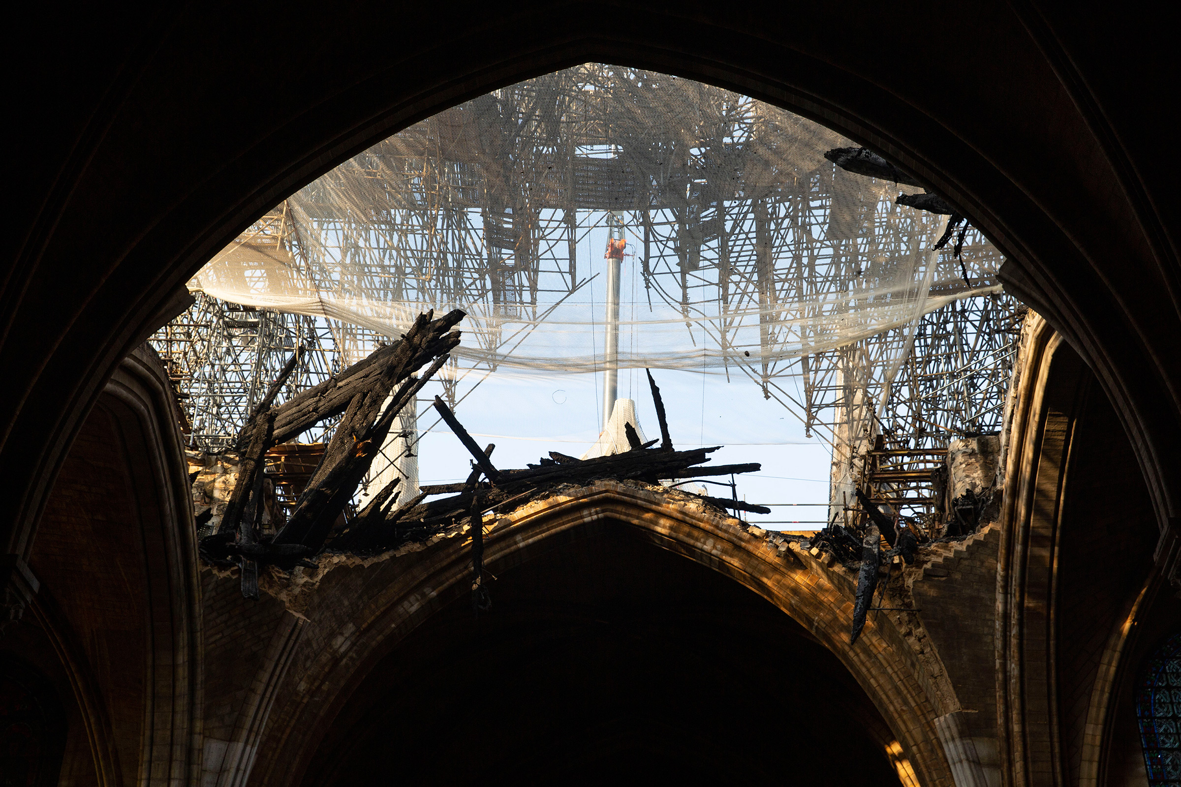 The damaged Notre Dame cathedral in June