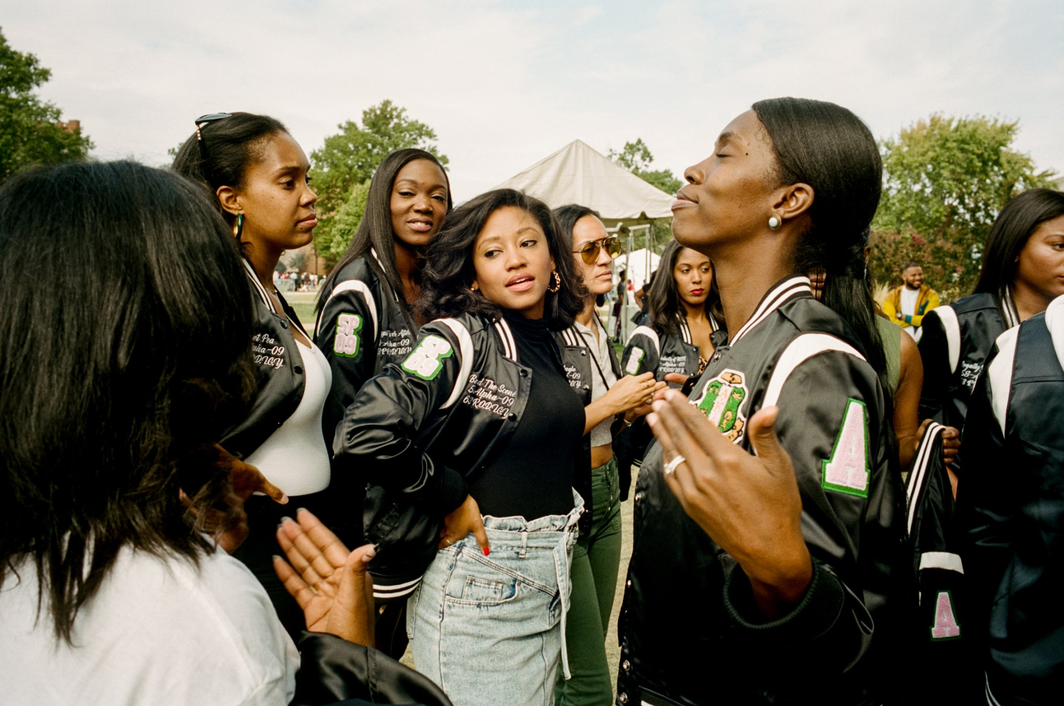 Members of Alpha Kappa Alpha, America's first black sorority, during homecoming at Howard University in Washington, D.C. The sorority was founded on the campus in 1908.