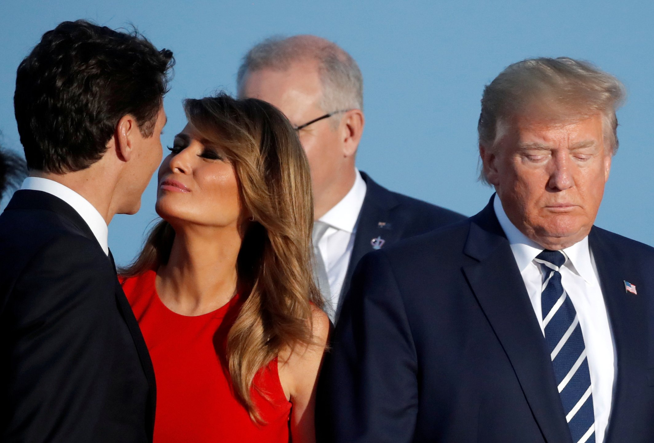 First Lady Melania Trump cheek-kisses Canadian Prime Minister Justin Trudeau next to President Trump during the family photo with invited guests at the G7 summit in Biarritz, France, in August.