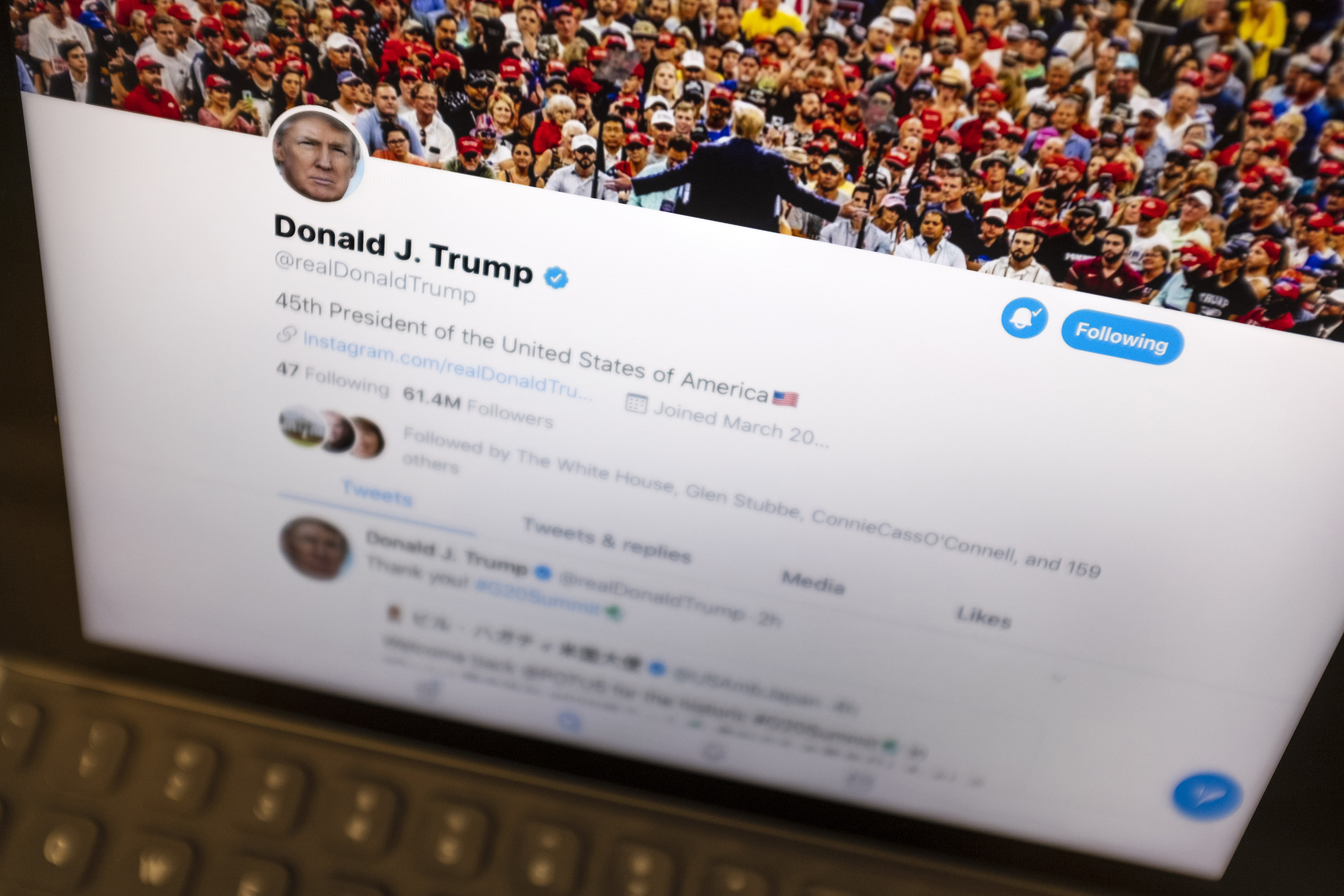 In this June 27, 2019, file photo President Donald Trump's Twitter feed is photographed on an Apple iPad in New York.